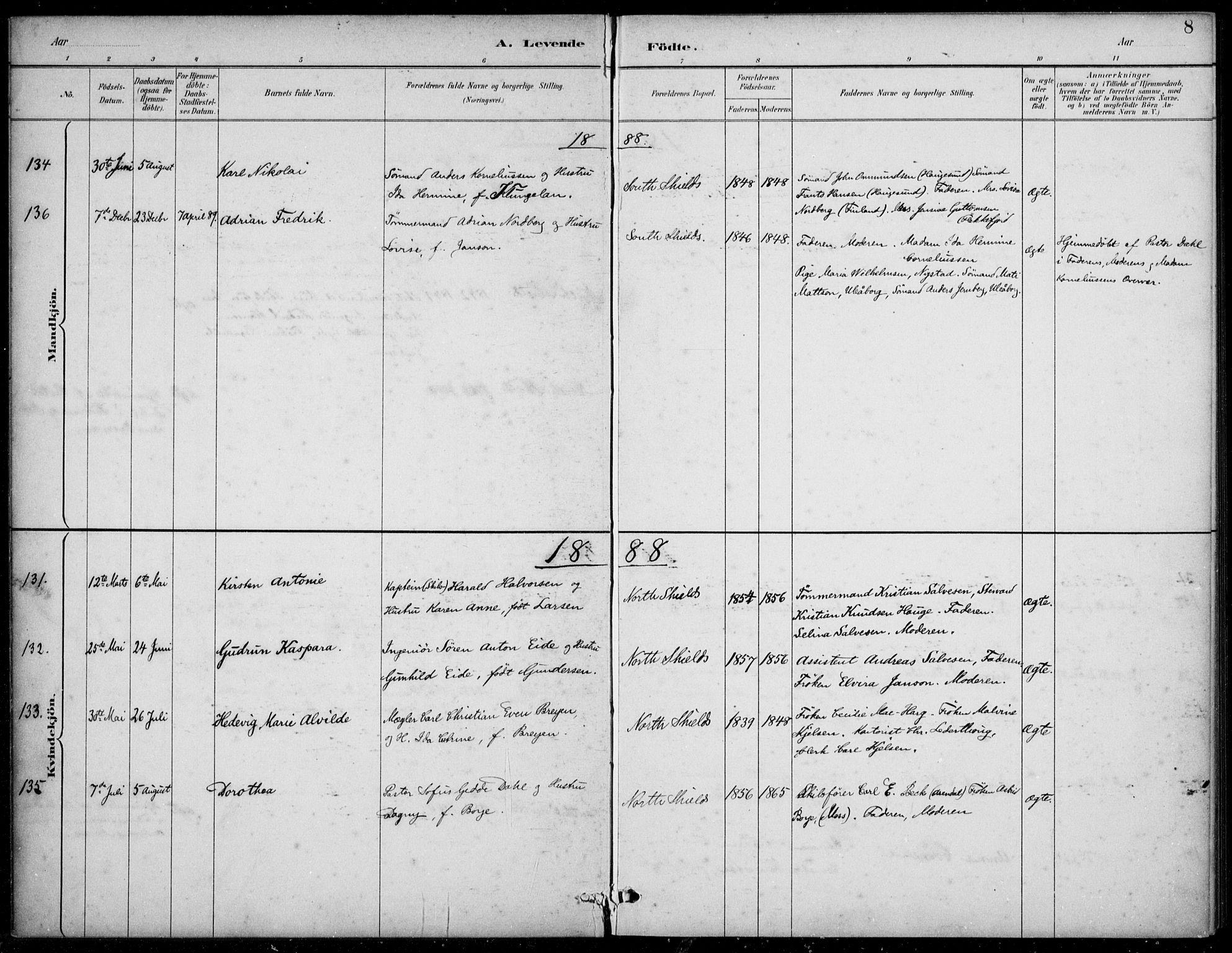 SAB, Den Norske Sjømannsmisjon i utlandet*, Ministerialbok nr. A 2, 1883-1936, s. 8