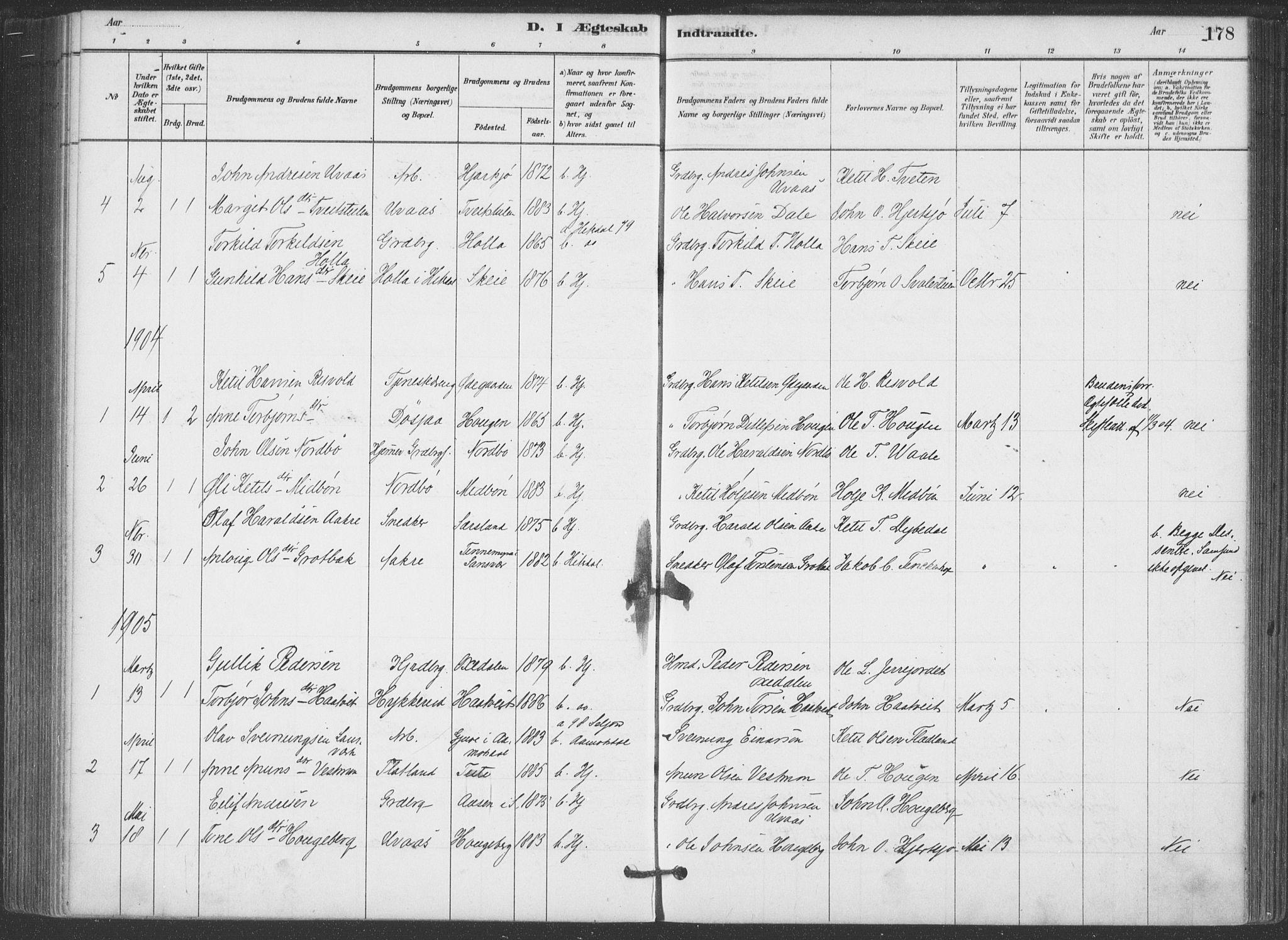 SAKO, Hjartdal kirkebøker, F/Fa/L0010: Ministerialbok nr. I 10, 1880-1929, s. 178