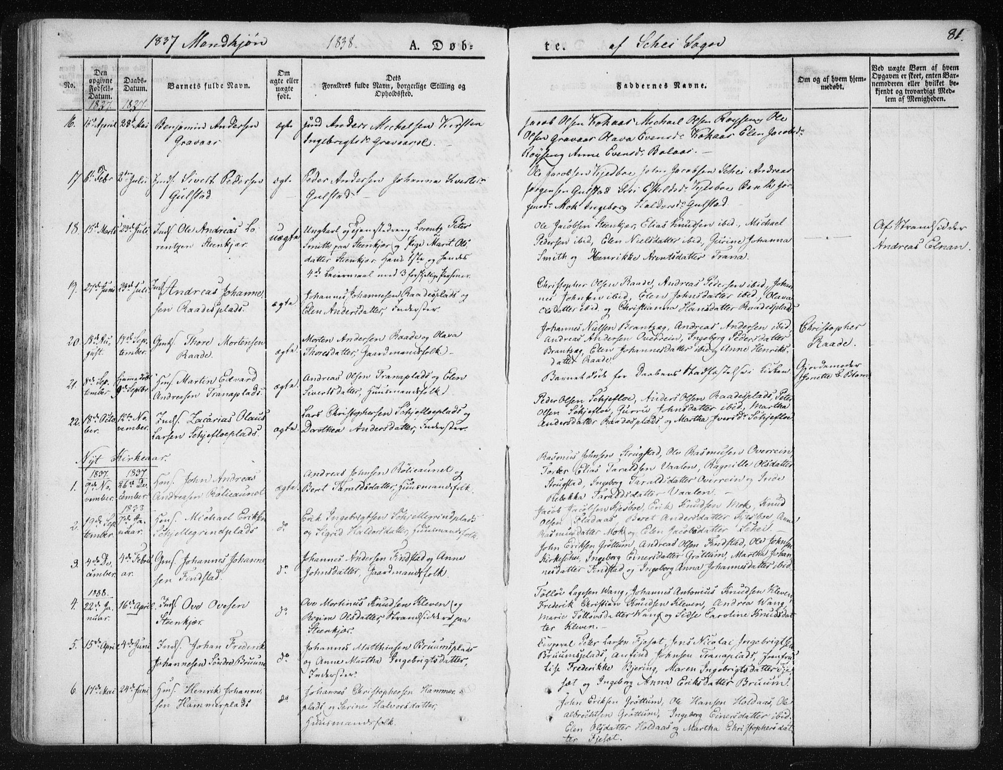 SAT, Ministerialprotokoller, klokkerbøker og fødselsregistre - Nord-Trøndelag, 735/L0339: Ministerialbok nr. 735A06 /2, 1836-1848, s. 81