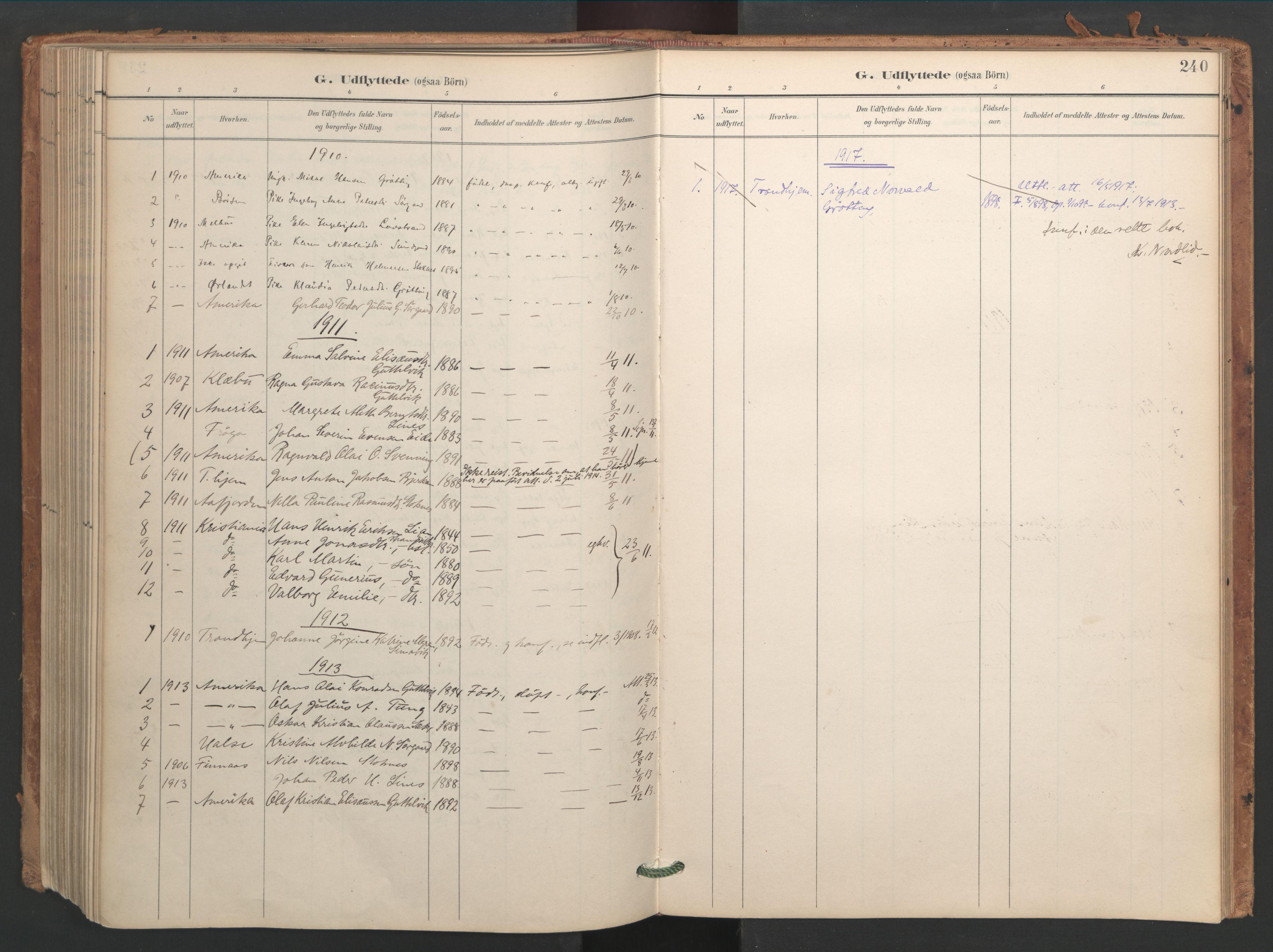 SAT, Ministerialprotokoller, klokkerbøker og fødselsregistre - Sør-Trøndelag, 656/L0693: Ministerialbok nr. 656A02, 1894-1913, s. 240