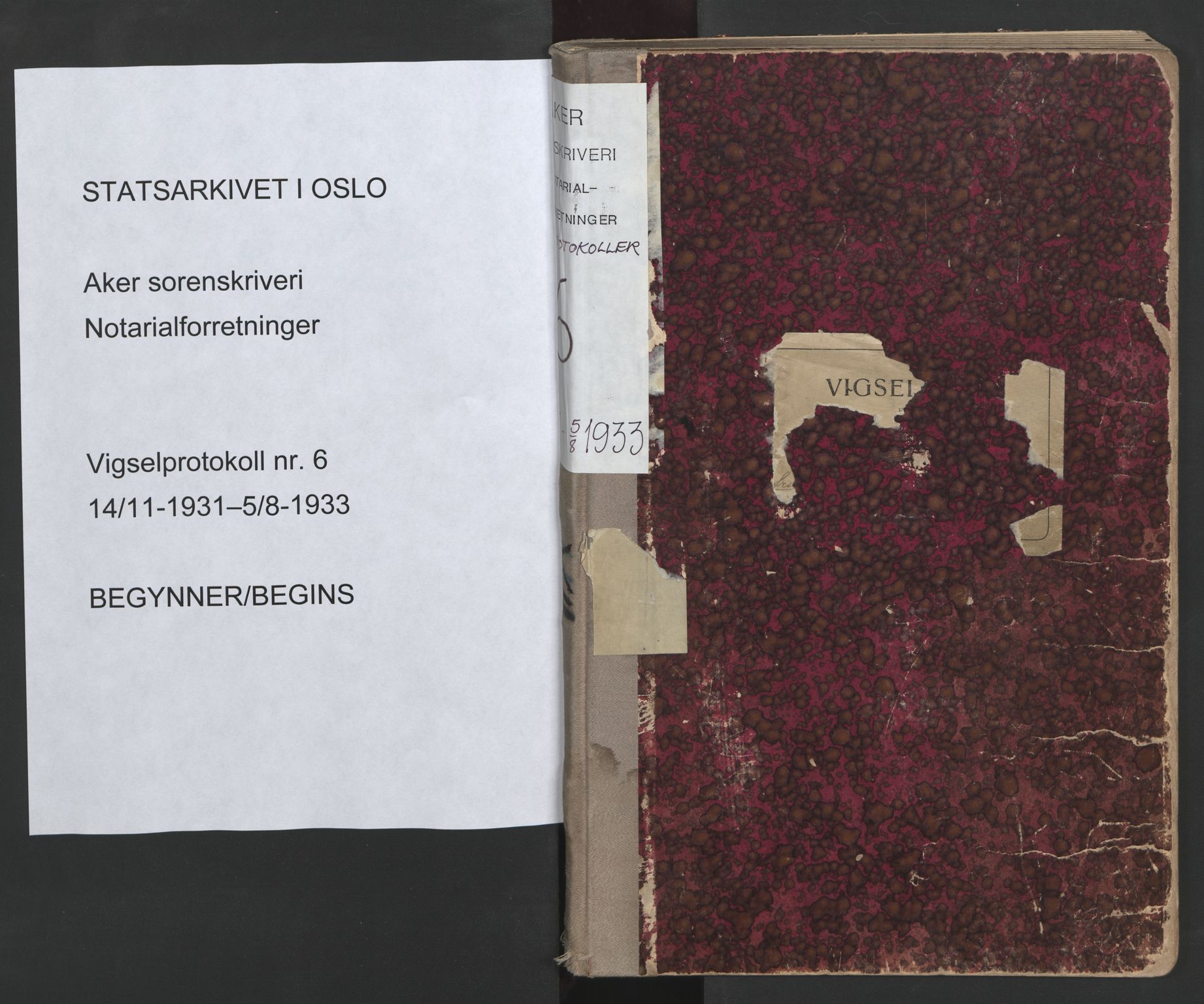 SAO, Aker sorenskriveri, L/Lc/Lcb/L0006: Vigselprotokoll, 1931-1933, s. upaginert