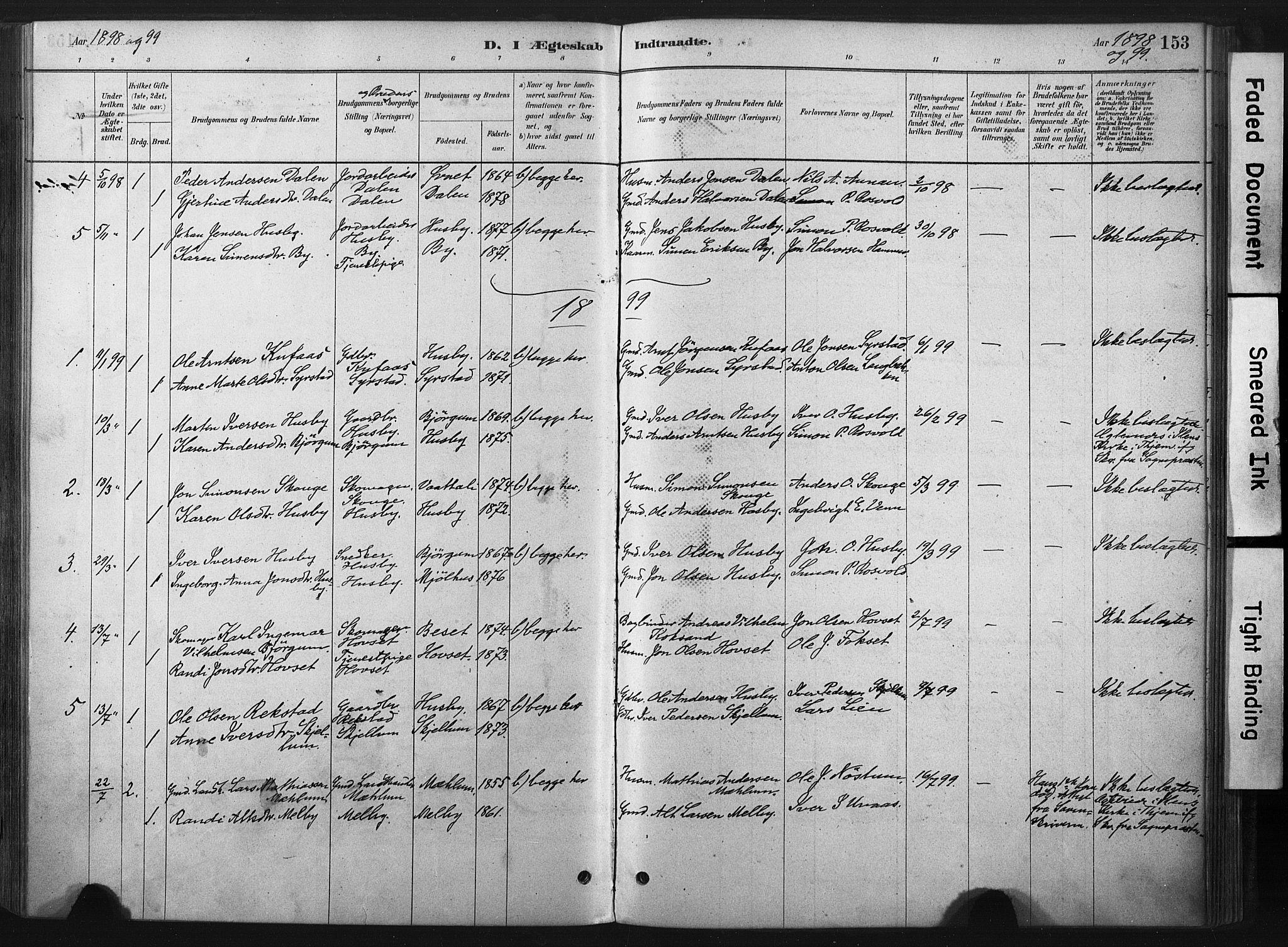 SAT, Ministerialprotokoller, klokkerbøker og fødselsregistre - Sør-Trøndelag, 667/L0795: Ministerialbok nr. 667A03, 1879-1907, s. 153