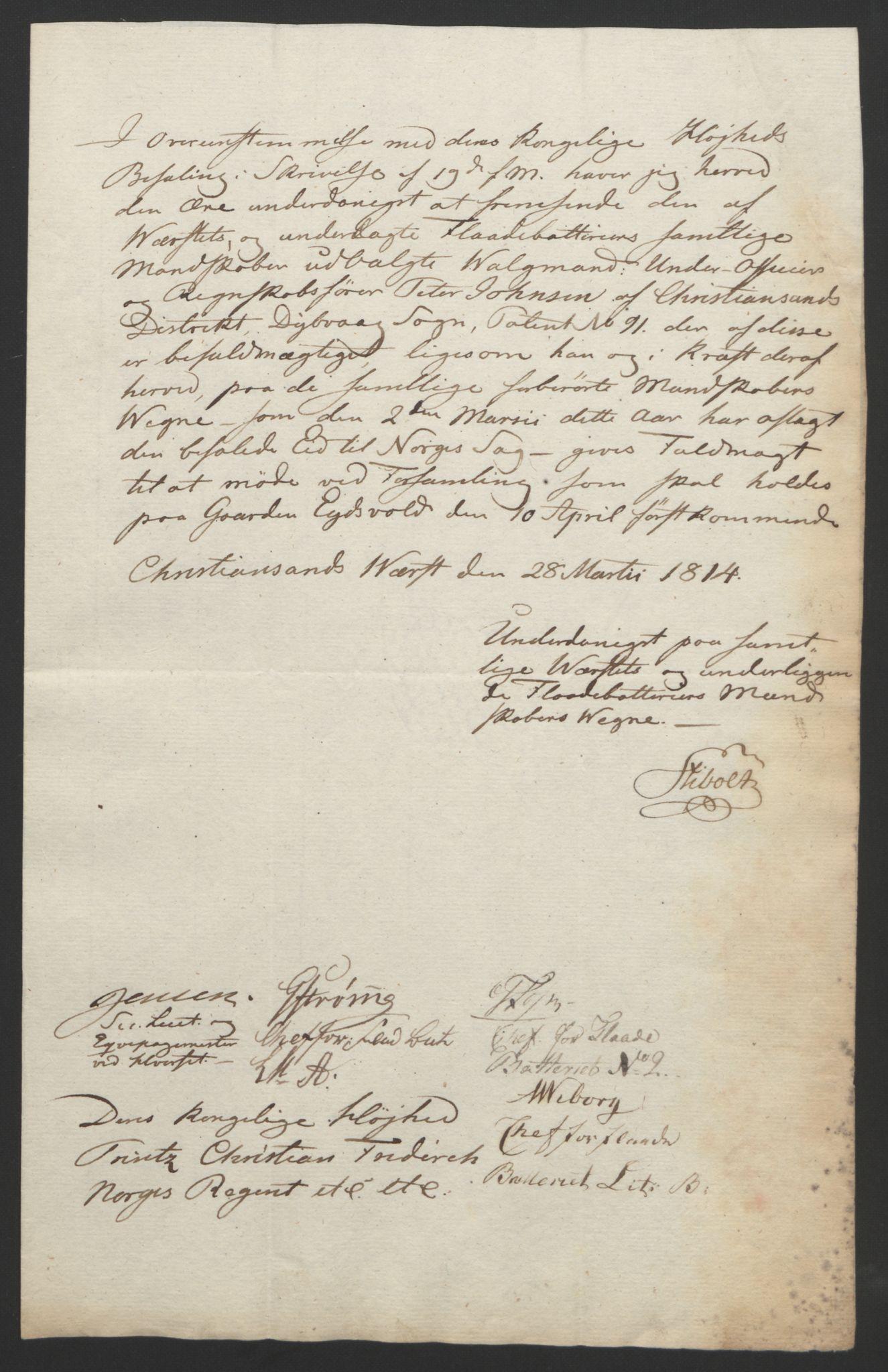 RA, Statsrådssekretariatet, D/Db/L0007: Fullmakter for Eidsvollsrepresentantene i 1814. , 1814, s. 124