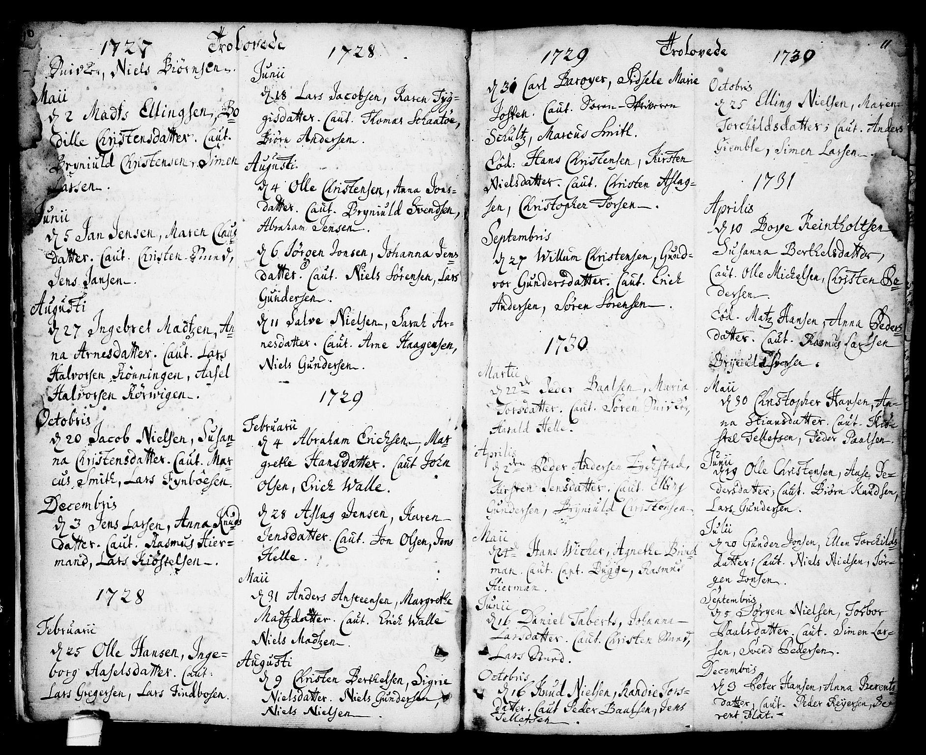SAKO, Kragerø kirkebøker, F/Fa/L0001: Ministerialbok nr. 1, 1702-1766, s. 10-11