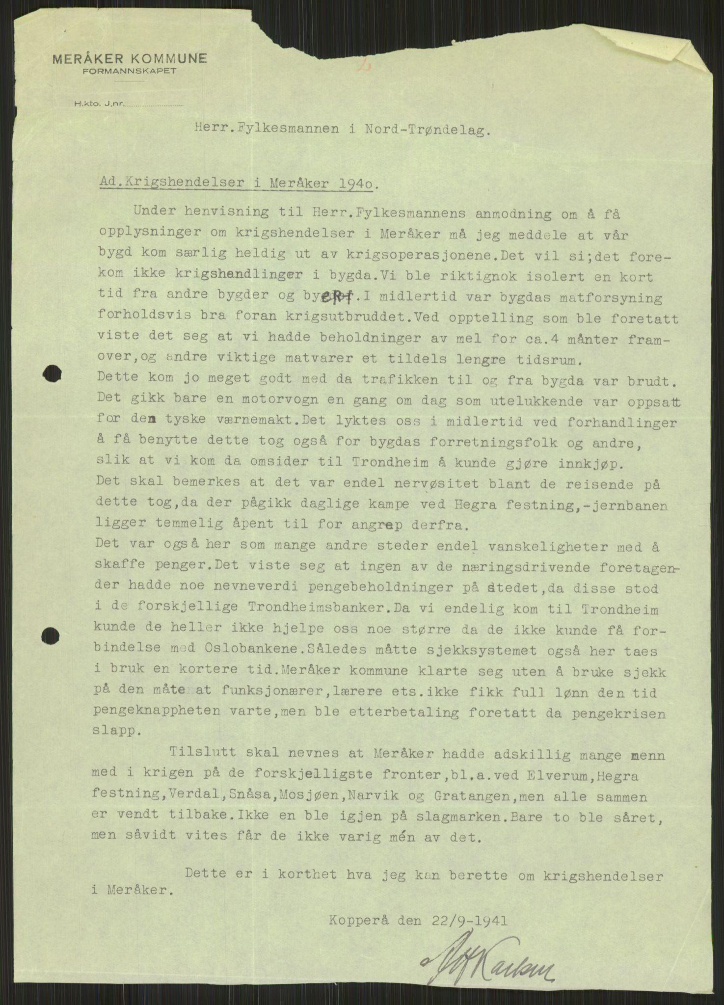 RA, Forsvaret, Forsvarets krigshistoriske avdeling, Y/Ya/L0016: II-C-11-31 - Fylkesmenn.  Rapporter om krigsbegivenhetene 1940., 1940, s. 505