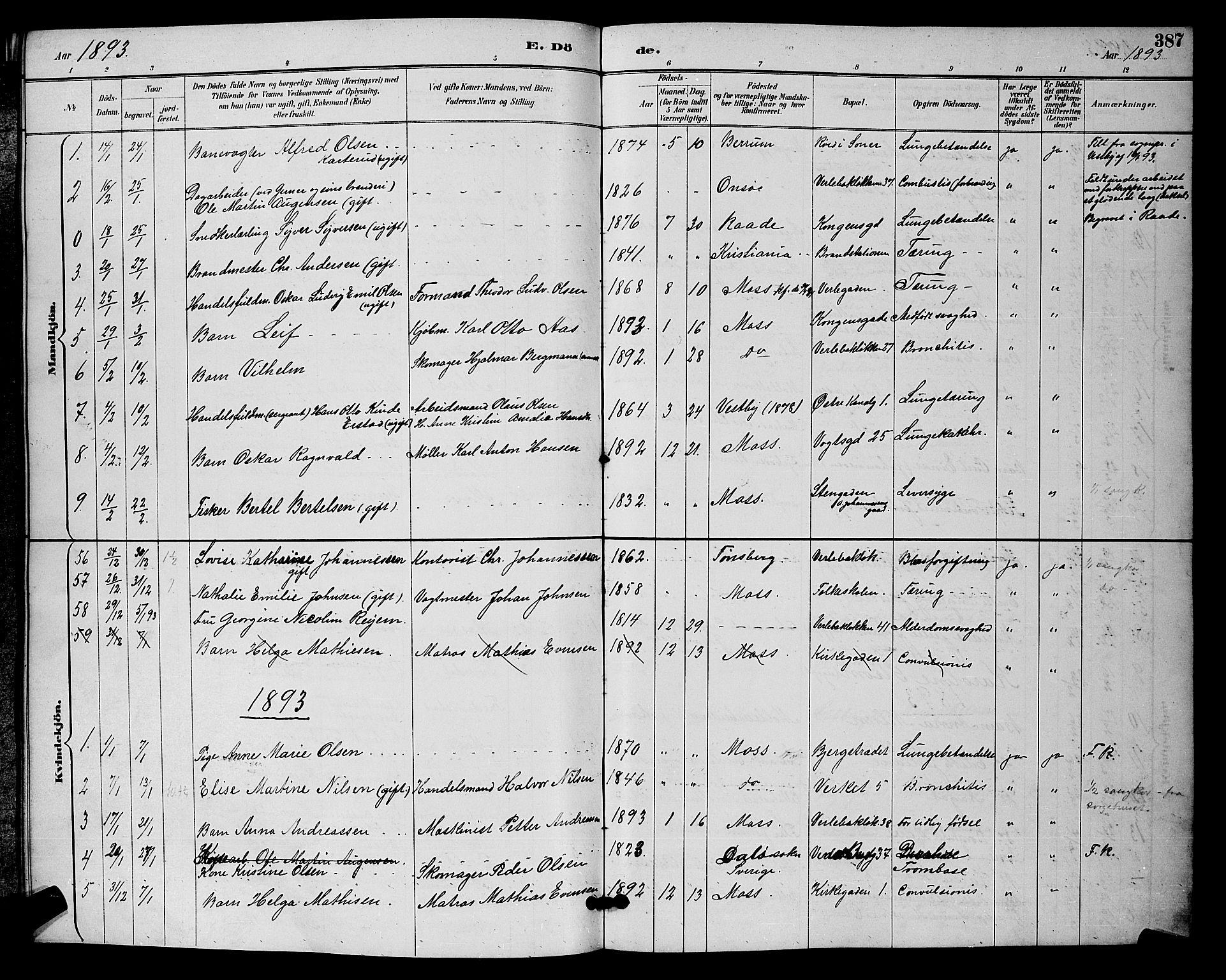 SAO, Moss prestekontor Kirkebøker, G/Ga/L0006: Klokkerbok nr. I 6, 1889-1900, s. 387
