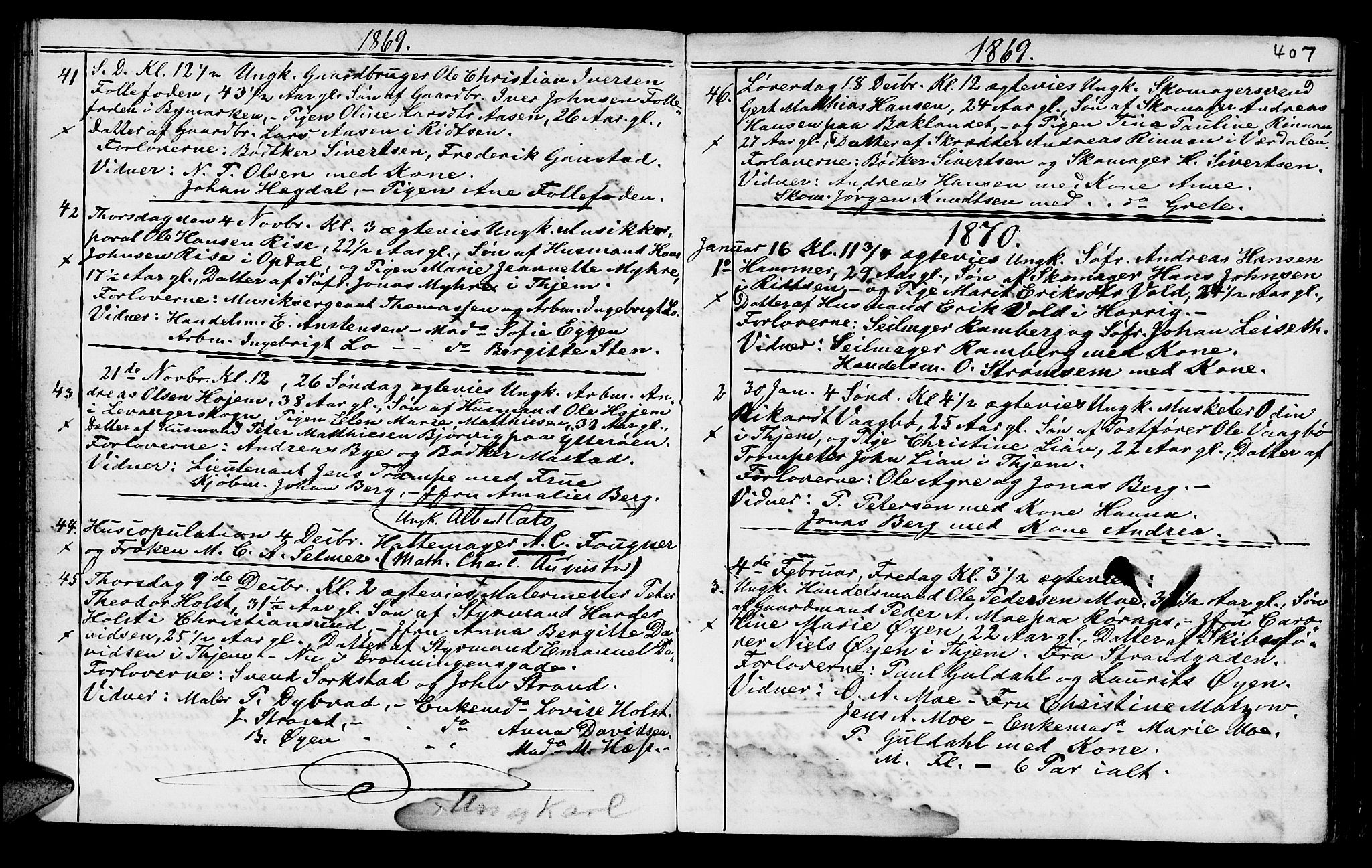 SAT, Ministerialprotokoller, klokkerbøker og fødselsregistre - Sør-Trøndelag, 602/L0140: Klokkerbok nr. 602C08, 1864-1872, s. 406-407