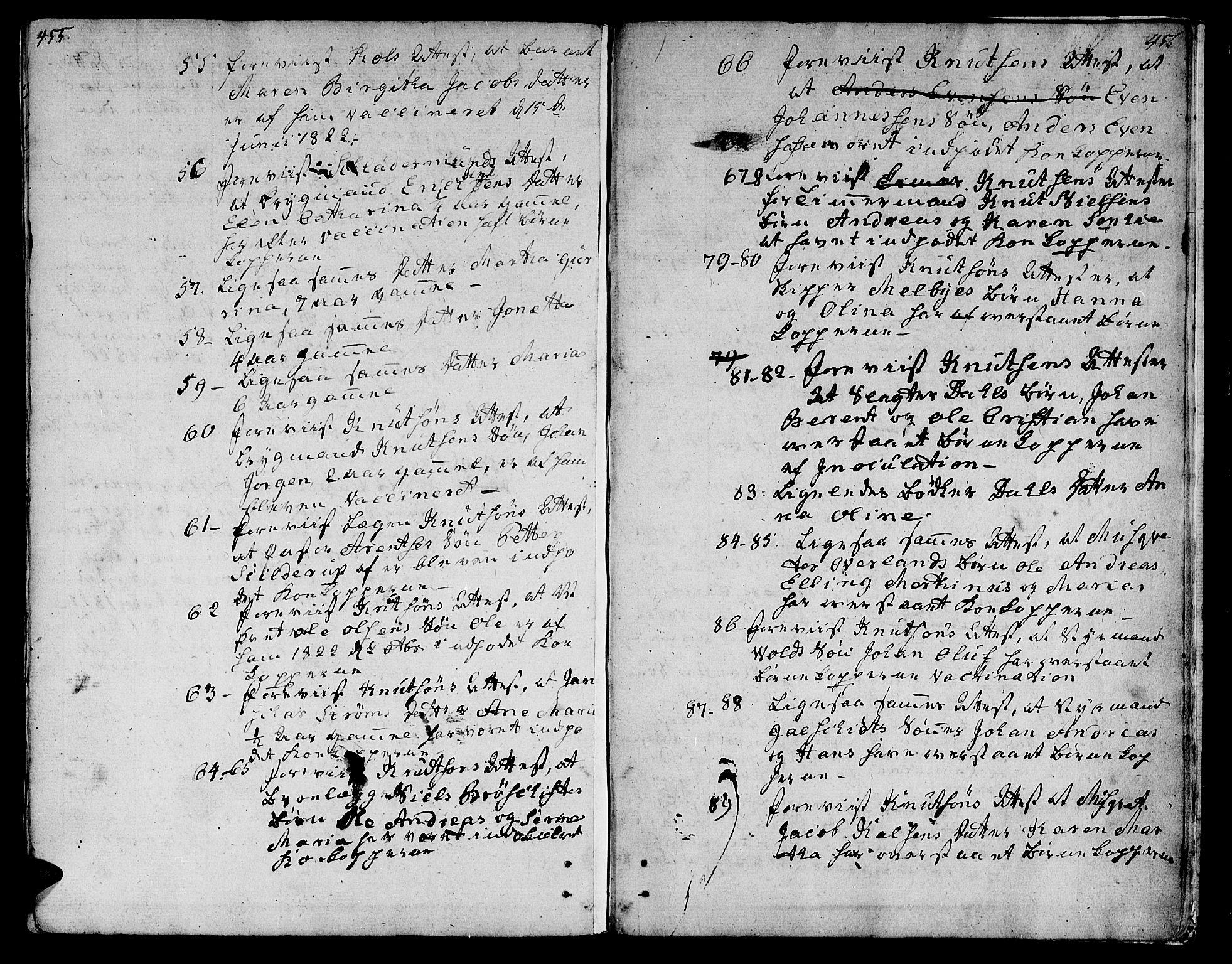 SAT, Ministerialprotokoller, klokkerbøker og fødselsregistre - Sør-Trøndelag, 601/L0042: Ministerialbok nr. 601A10, 1802-1830, s. 455-456
