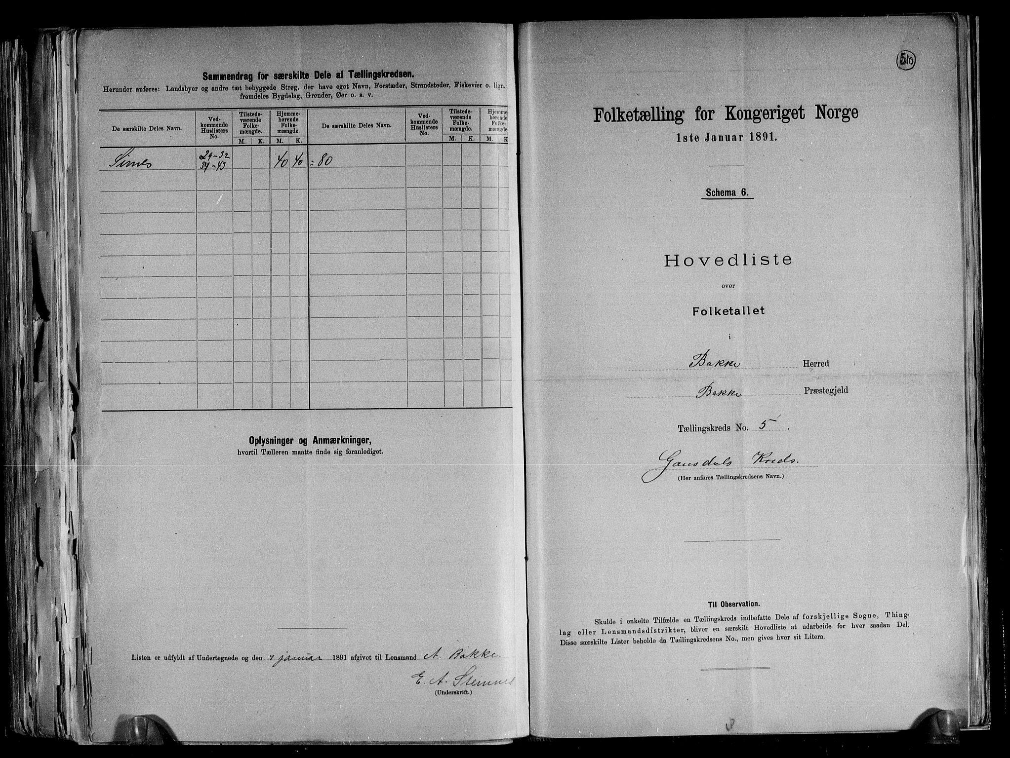 RA, Folketelling 1891 for 1045 Bakke herred, 1891, s. 13