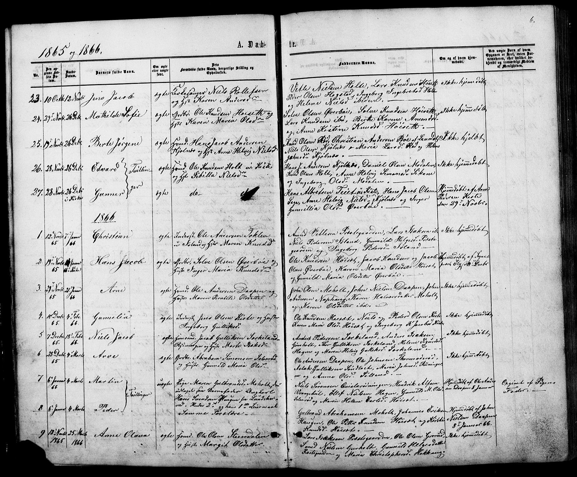SAKO, Siljan kirkebøker, G/Ga/L0002: Klokkerbok nr. 2, 1864-1908, s. 6