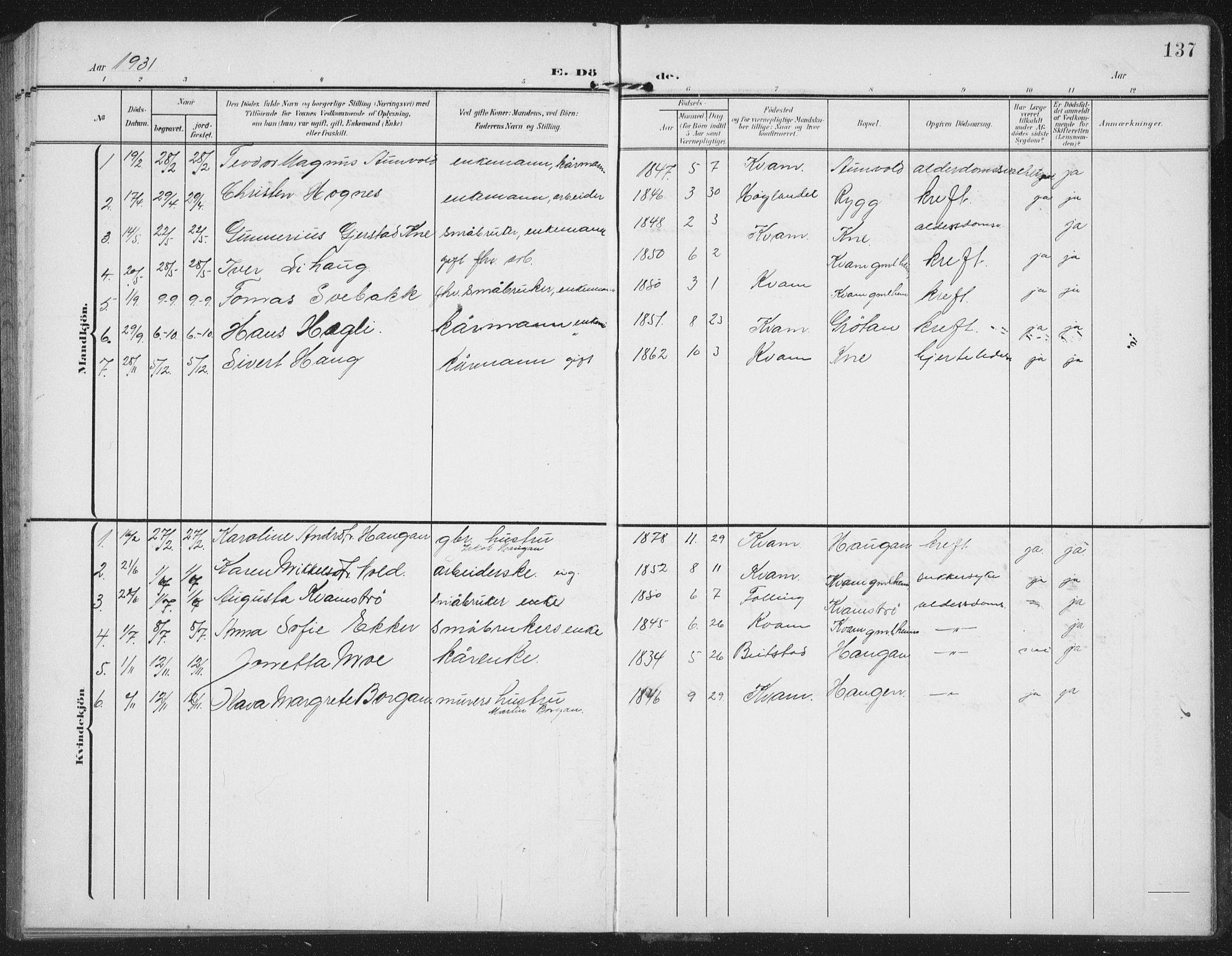 SAT, Ministerialprotokoller, klokkerbøker og fødselsregistre - Nord-Trøndelag, 747/L0460: Klokkerbok nr. 747C02, 1908-1939, s. 137