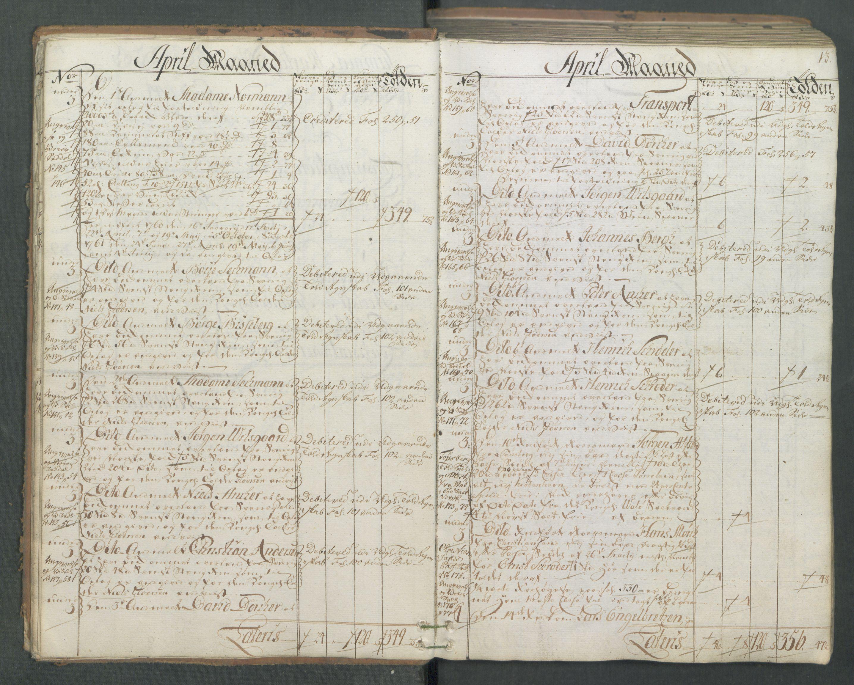 RA, Generaltollkammeret, tollregnskaper, R01/L0046: Tollregnskaper Fredrikshald, 1762, s. 12b-13a