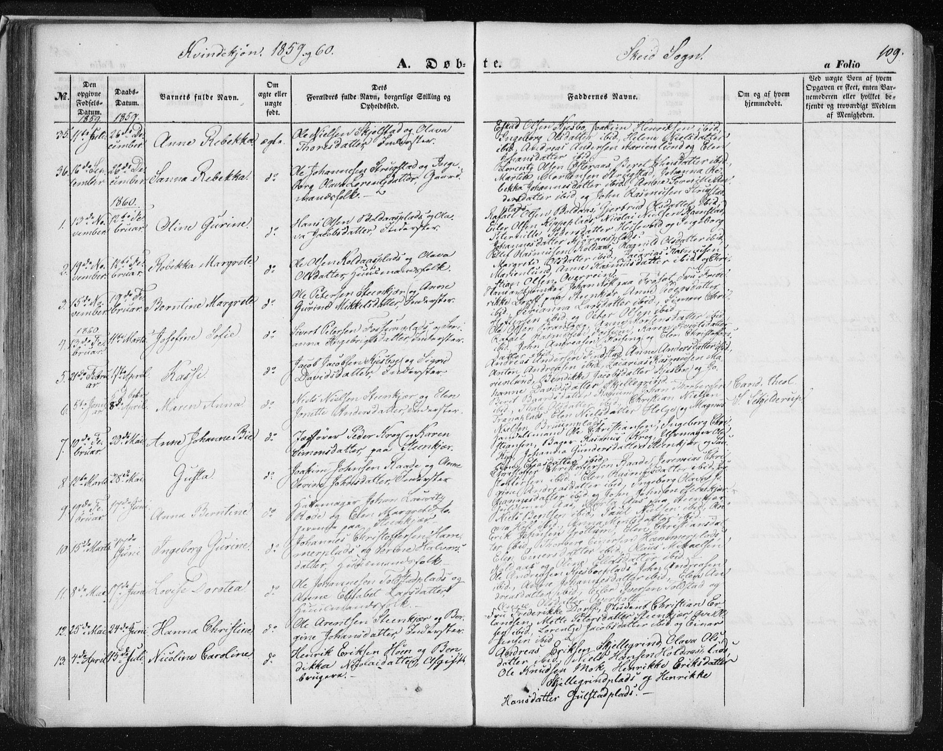 SAT, Ministerialprotokoller, klokkerbøker og fødselsregistre - Nord-Trøndelag, 735/L0342: Ministerialbok nr. 735A07 /2, 1849-1862, s. 109