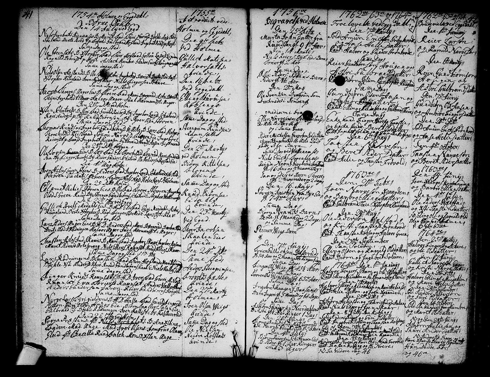SAKO, Sigdal kirkebøker, F/Fa/L0001: Ministerialbok nr. I 1, 1722-1777, s. 41-42