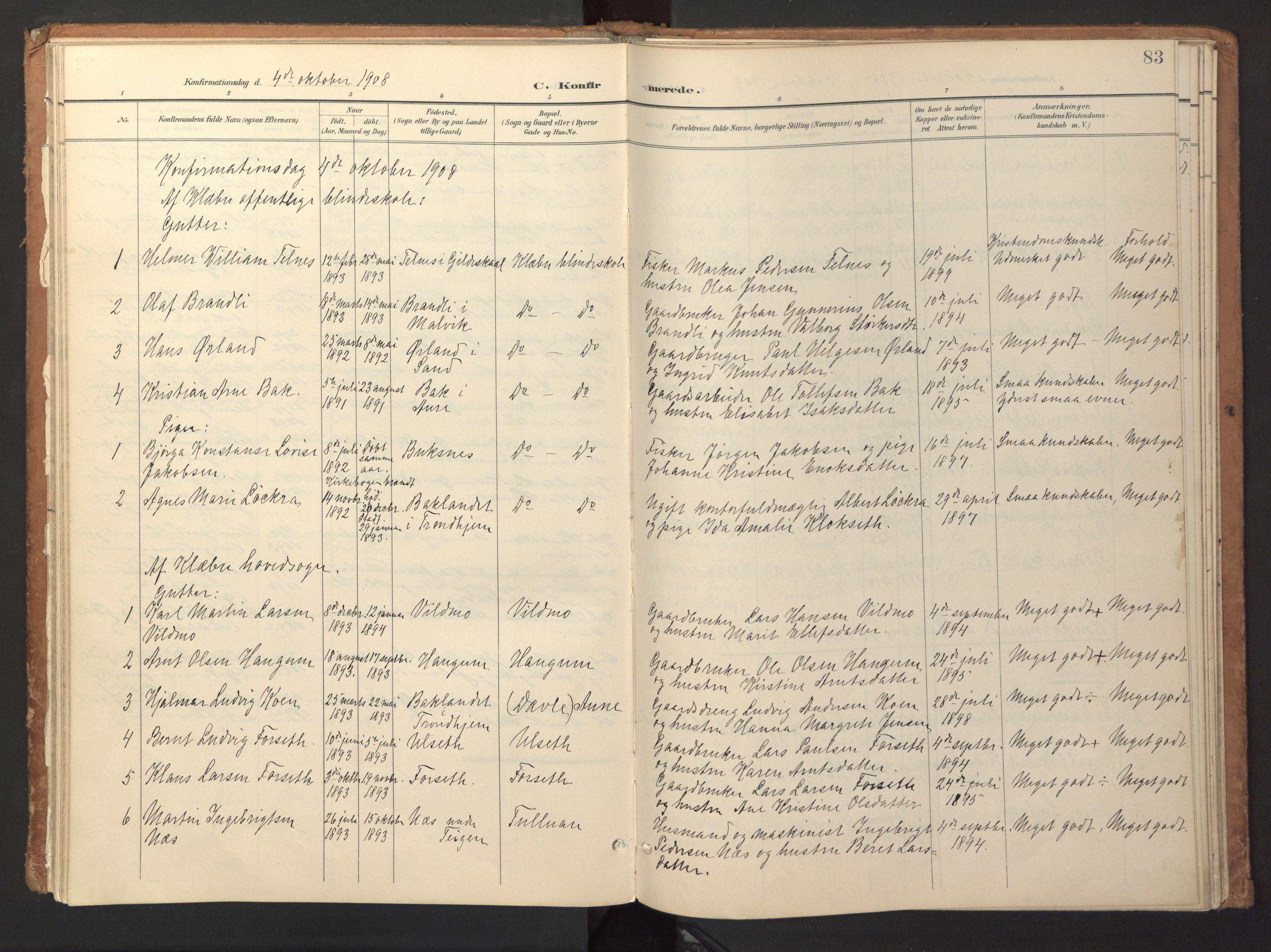 SAT, Ministerialprotokoller, klokkerbøker og fødselsregistre - Sør-Trøndelag, 618/L0448: Ministerialbok nr. 618A11, 1898-1916, s. 83
