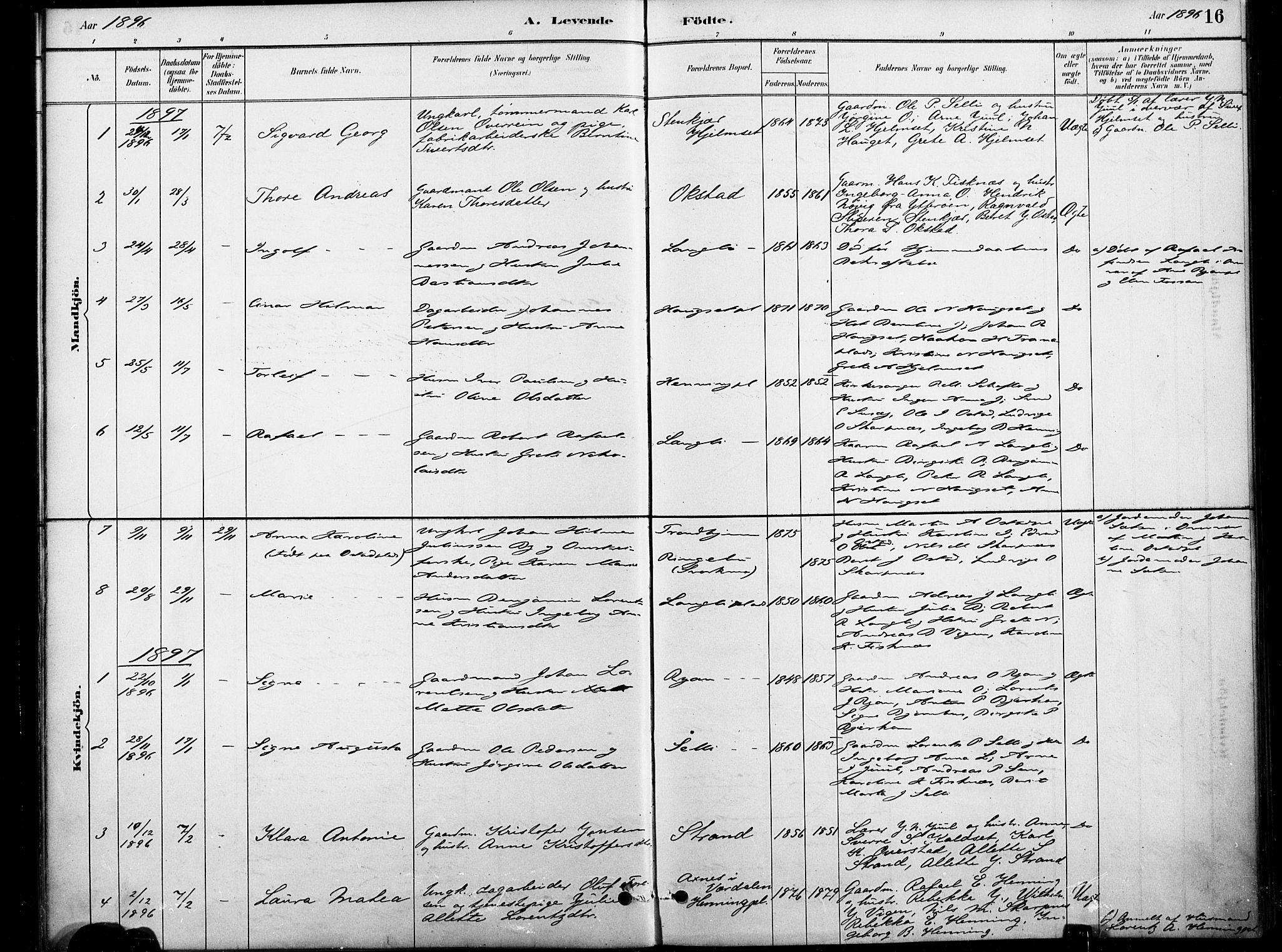 SAT, Ministerialprotokoller, klokkerbøker og fødselsregistre - Nord-Trøndelag, 738/L0364: Ministerialbok nr. 738A01, 1884-1902, s. 16