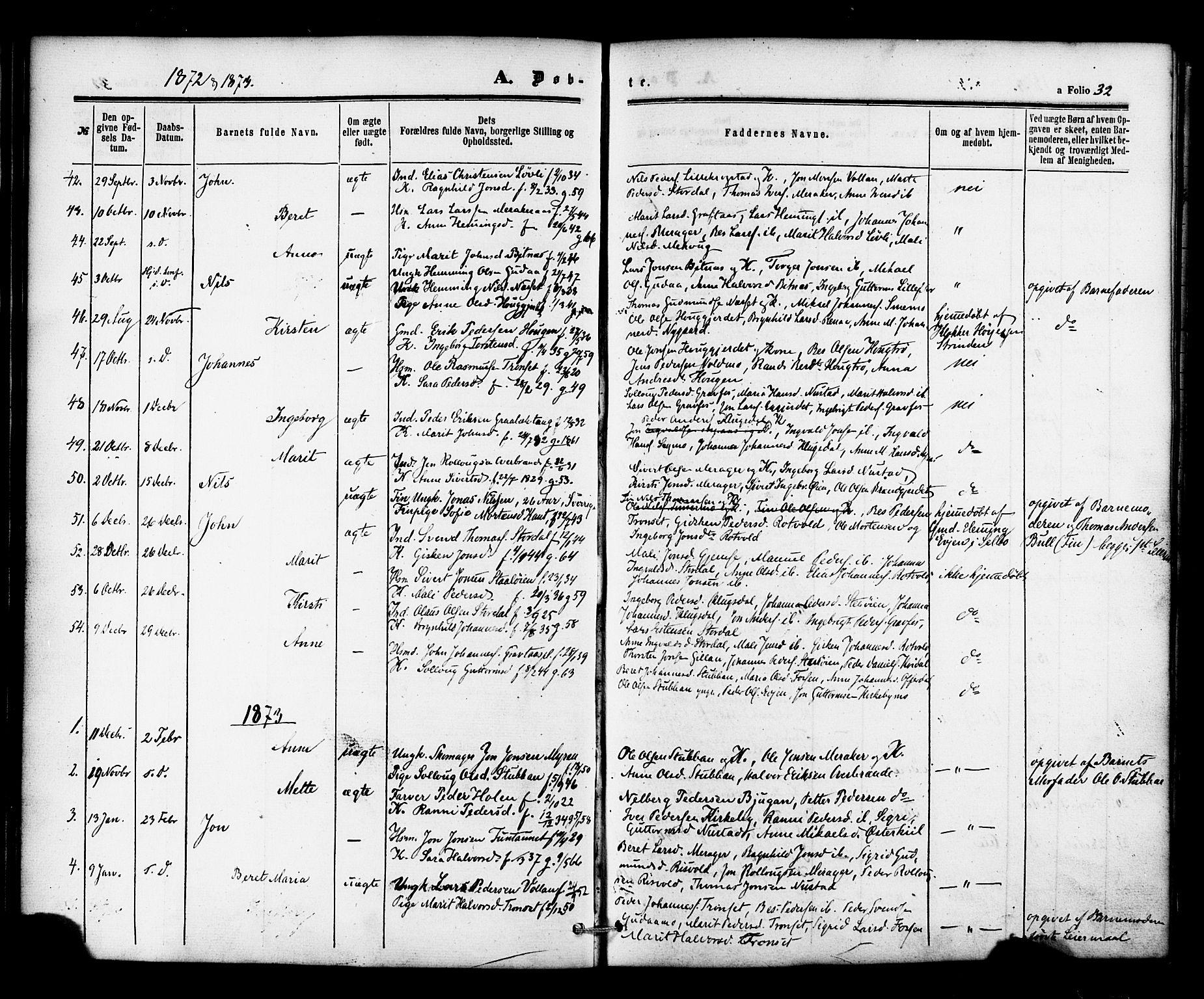 SAT, Ministerialprotokoller, klokkerbøker og fødselsregistre - Nord-Trøndelag, 706/L0041: Ministerialbok nr. 706A02, 1862-1877, s. 32