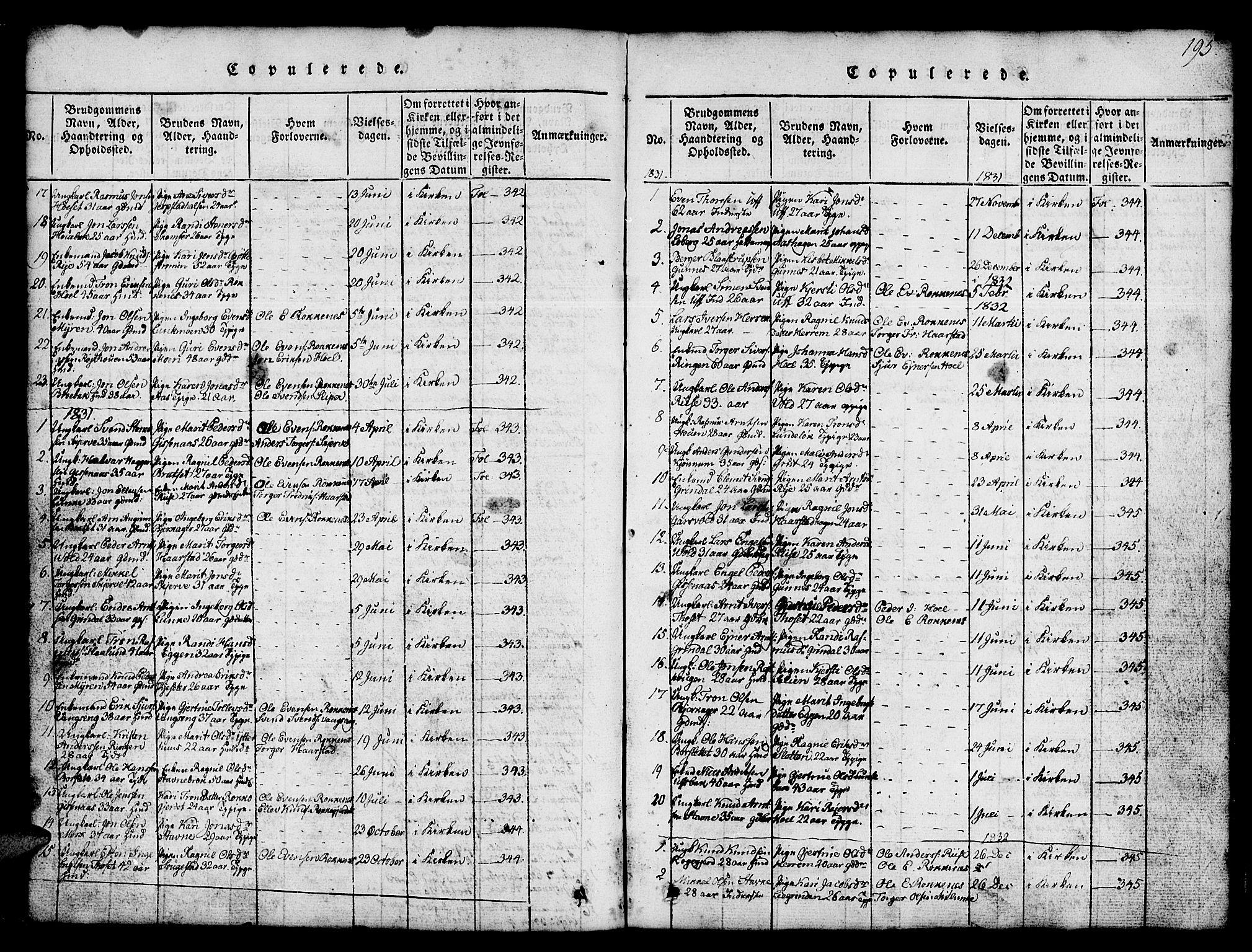 SAT, Ministerialprotokoller, klokkerbøker og fødselsregistre - Sør-Trøndelag, 674/L0874: Klokkerbok nr. 674C01, 1816-1860, s. 195