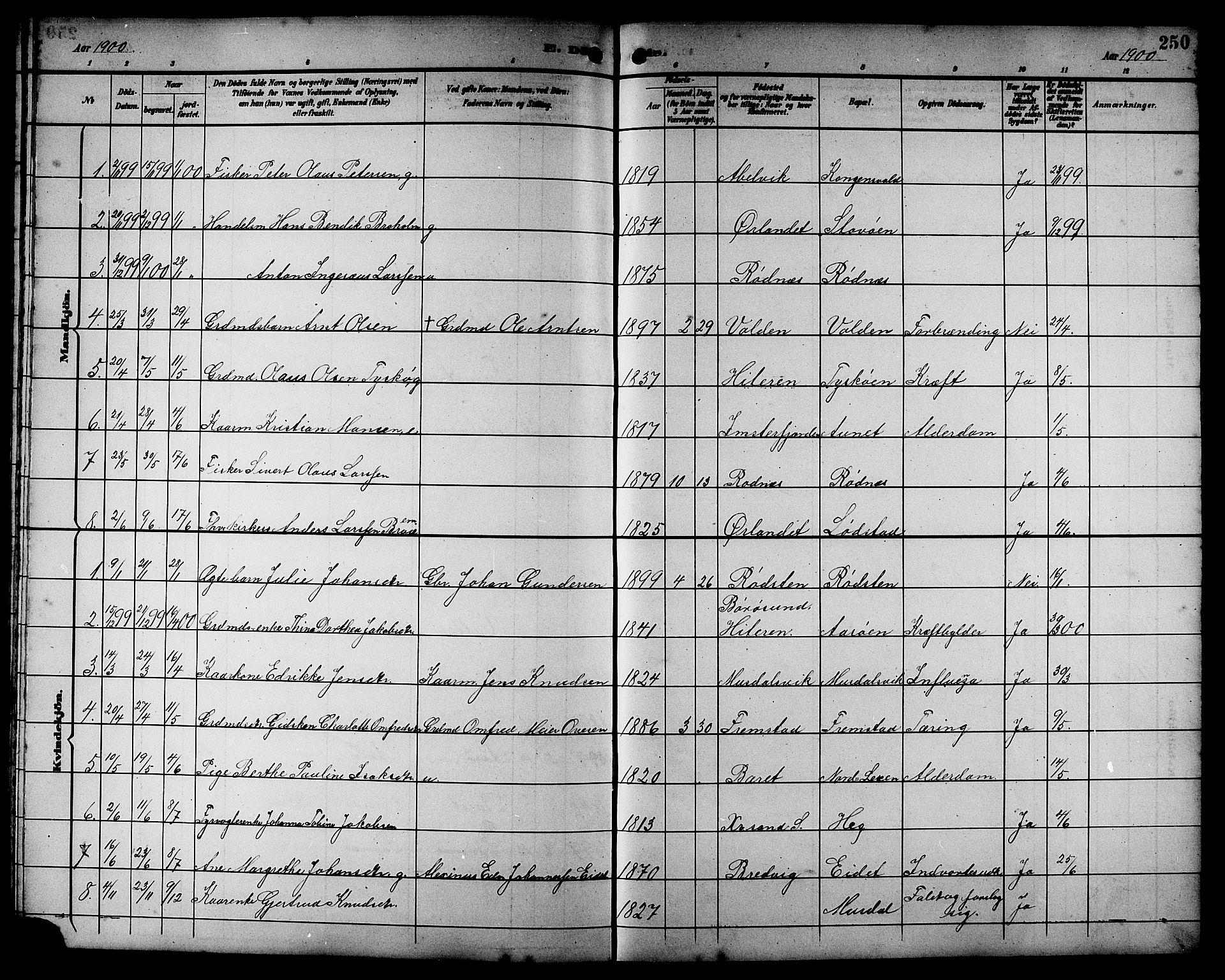 SAT, Ministerialprotokoller, klokkerbøker og fødselsregistre - Sør-Trøndelag, 662/L0757: Klokkerbok nr. 662C02, 1892-1918, s. 250
