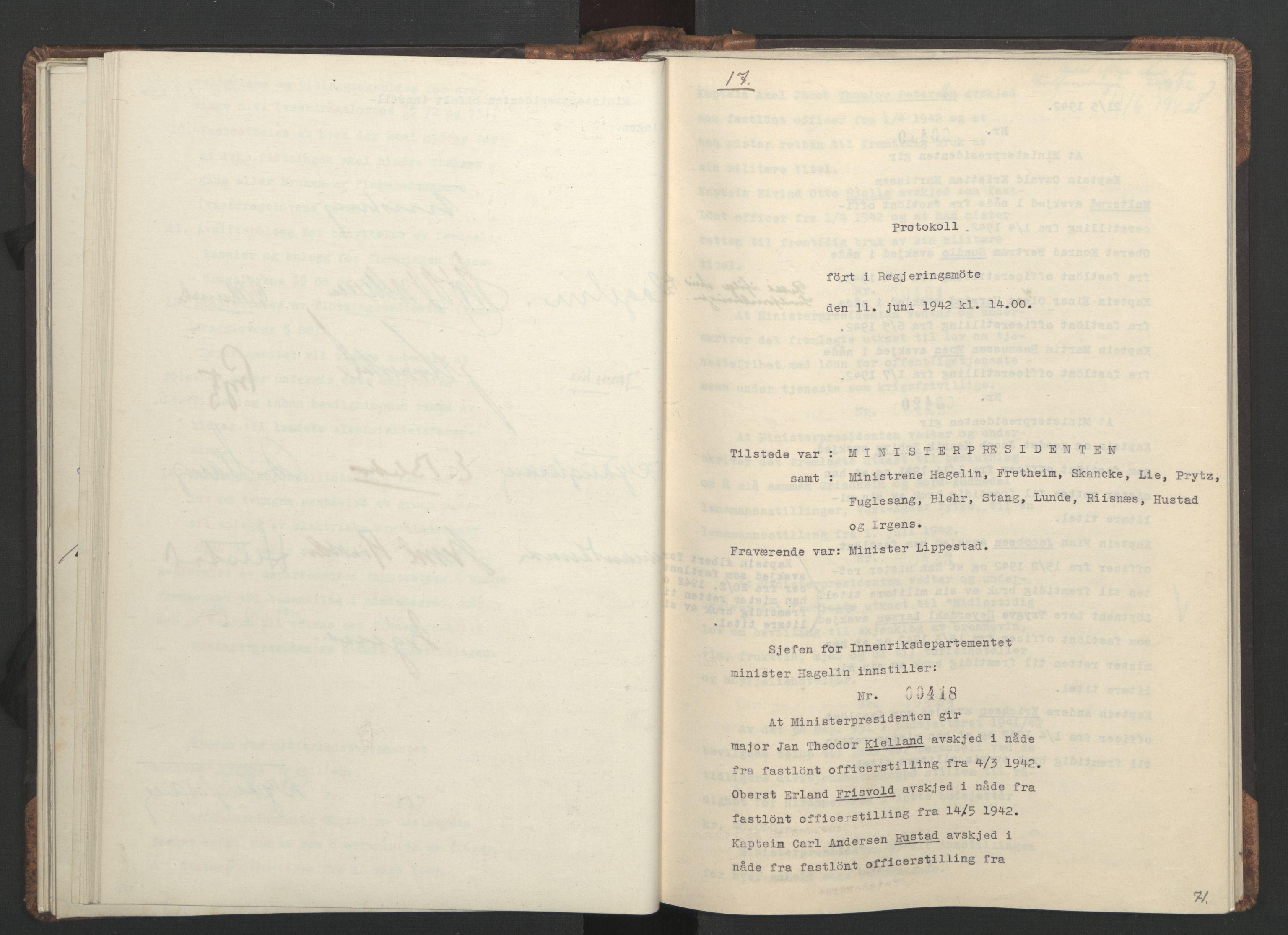 RA, NS-administrasjonen 1940-1945 (Statsrådsekretariatet, de kommisariske statsråder mm), D/Da/L0001: Beslutninger og tillegg (1-952 og 1-32), 1942, s. 70b-71a