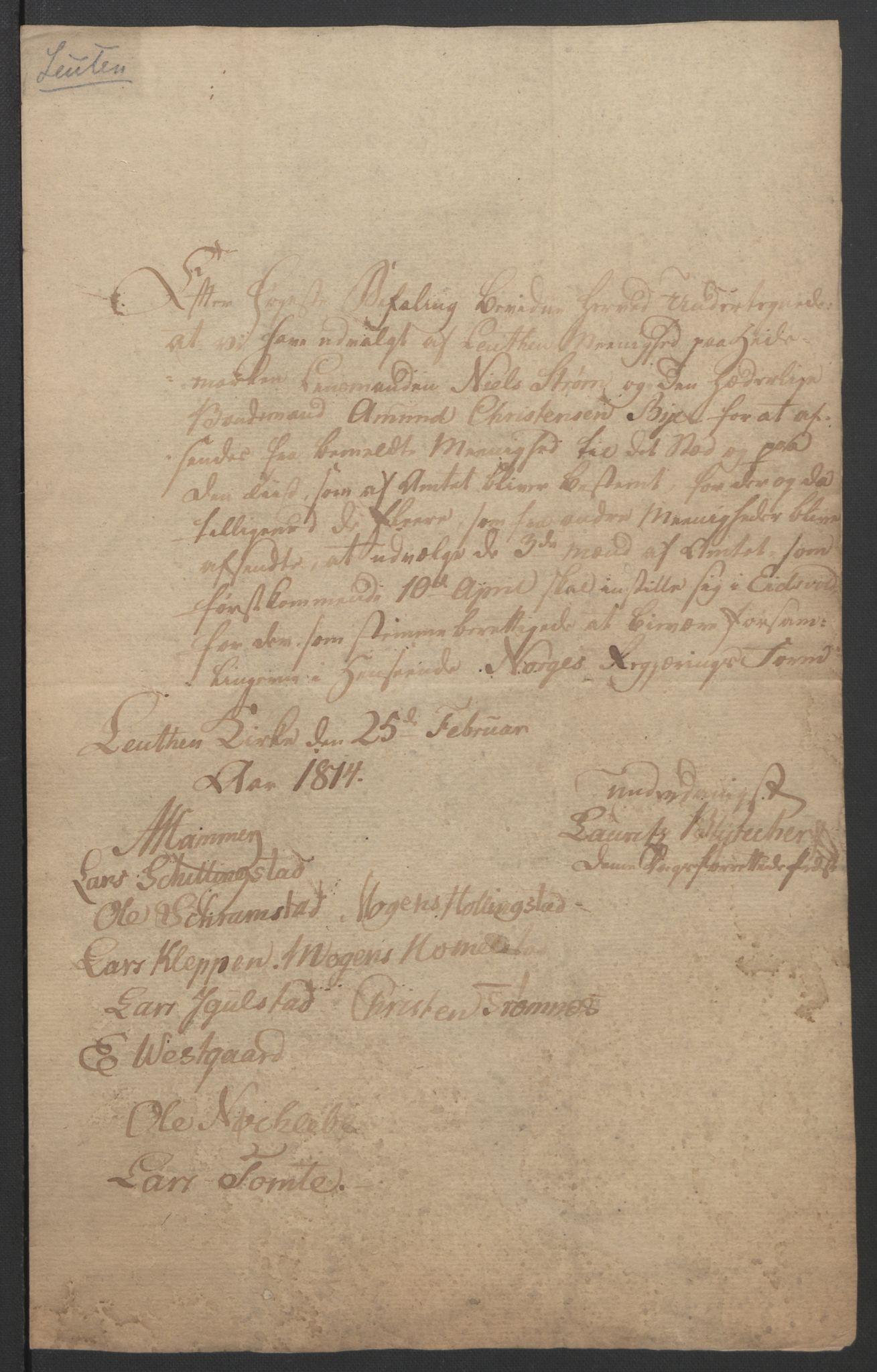 RA, Statsrådssekretariatet, D/Db/L0007: Fullmakter for Eidsvollsrepresentantene i 1814. , 1814, s. 226