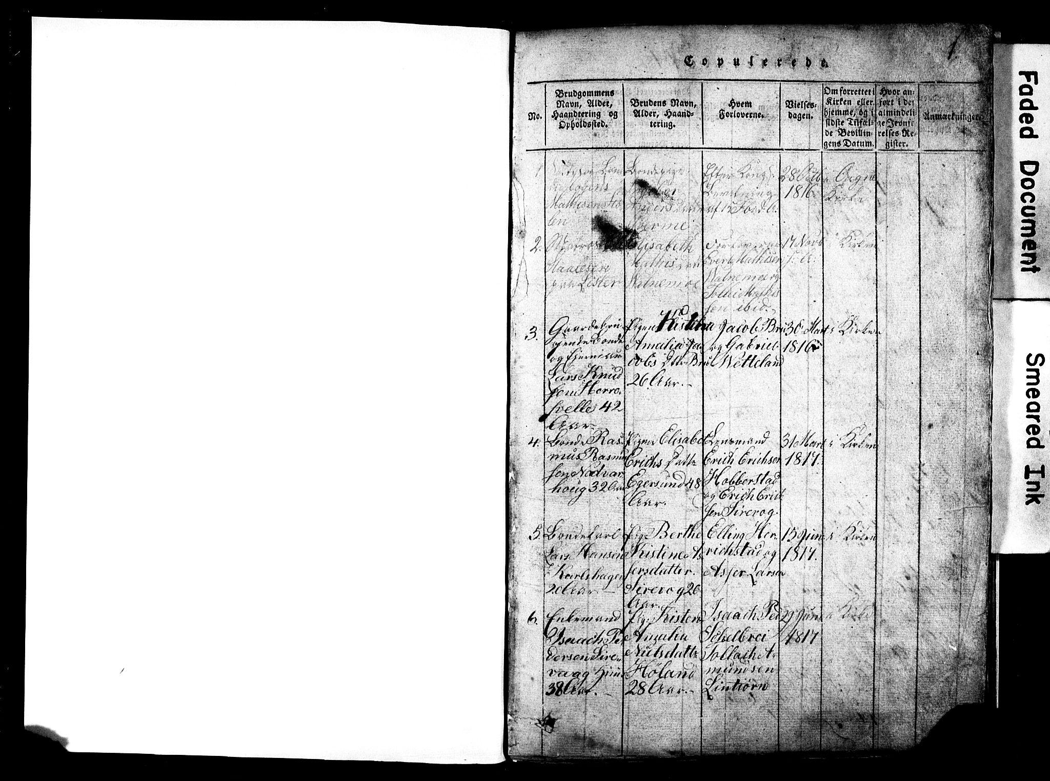 SAST, Egersund sokneprestkontor, Klokkerbok nr. B 2, 1816-1847, s. 0-1