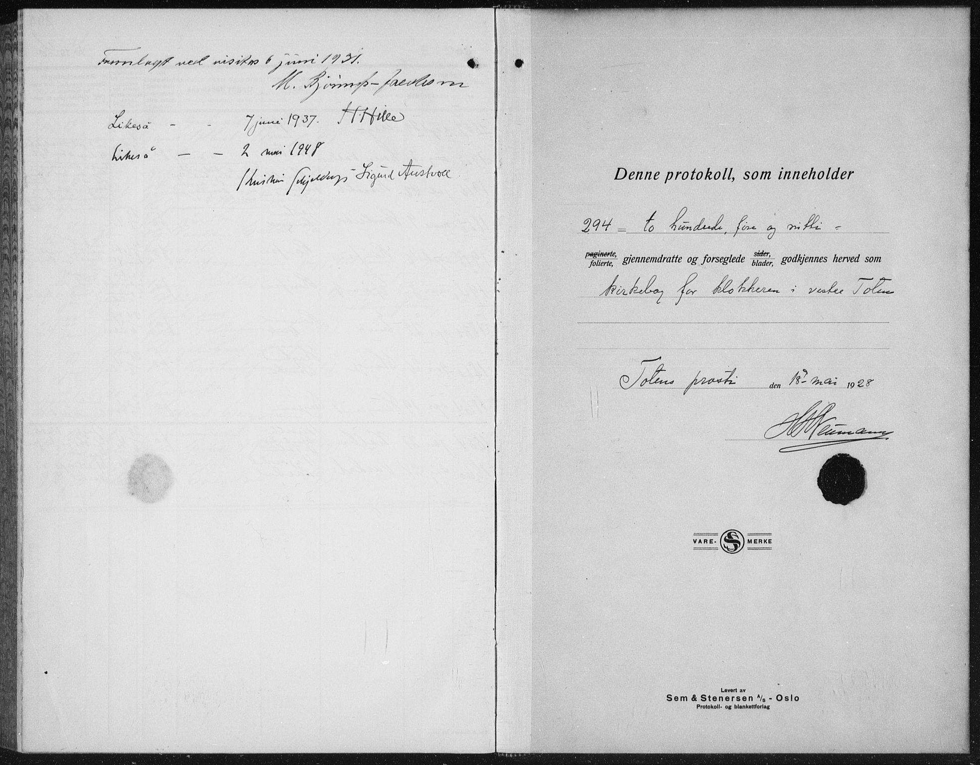 SAH, Vestre Toten prestekontor, H/Ha/Hab/L0018: Klokkerbok nr. 18, 1928-1941