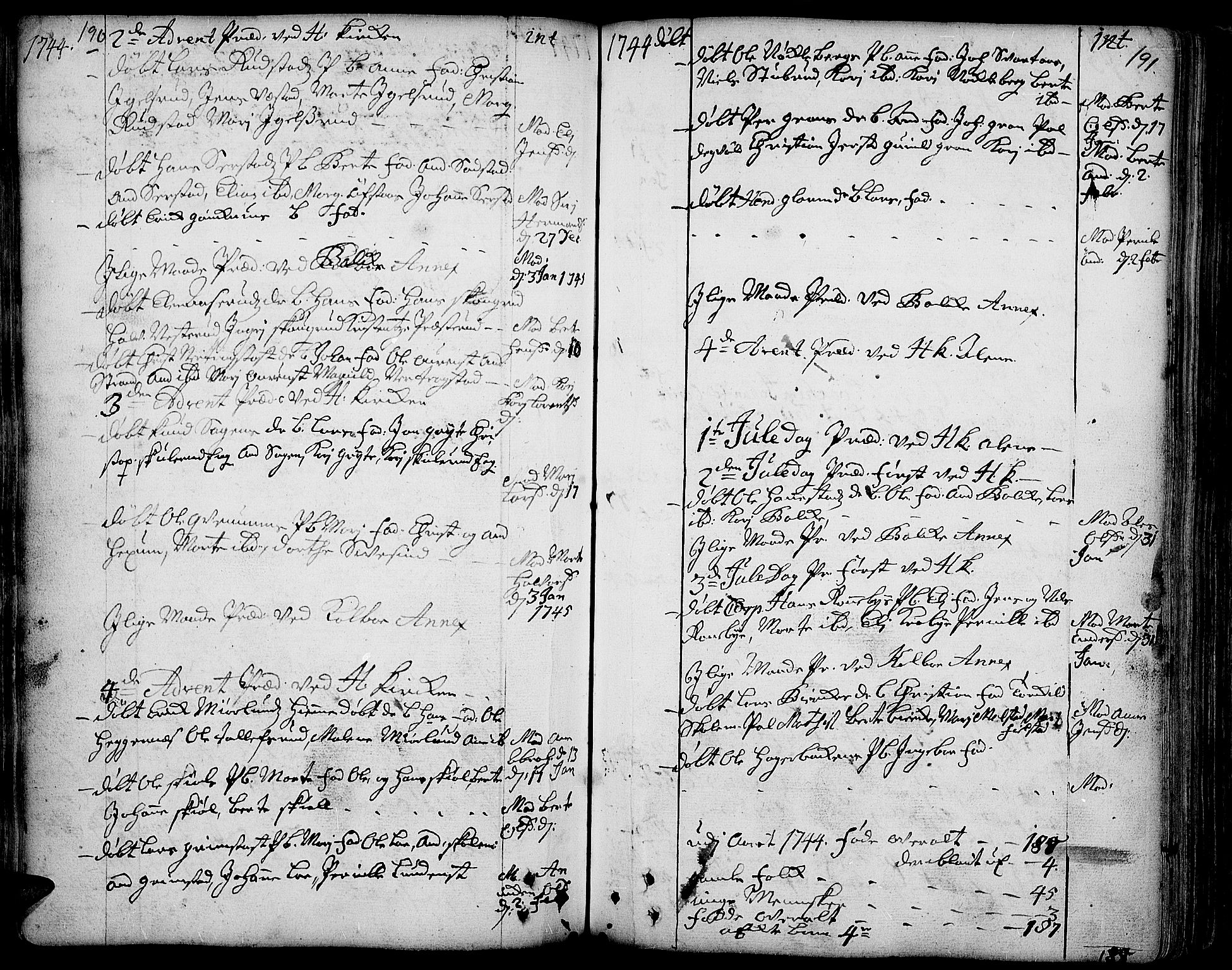SAH, Toten prestekontor, Ministerialbok nr. 3, 1734-1751, s. 190-191
