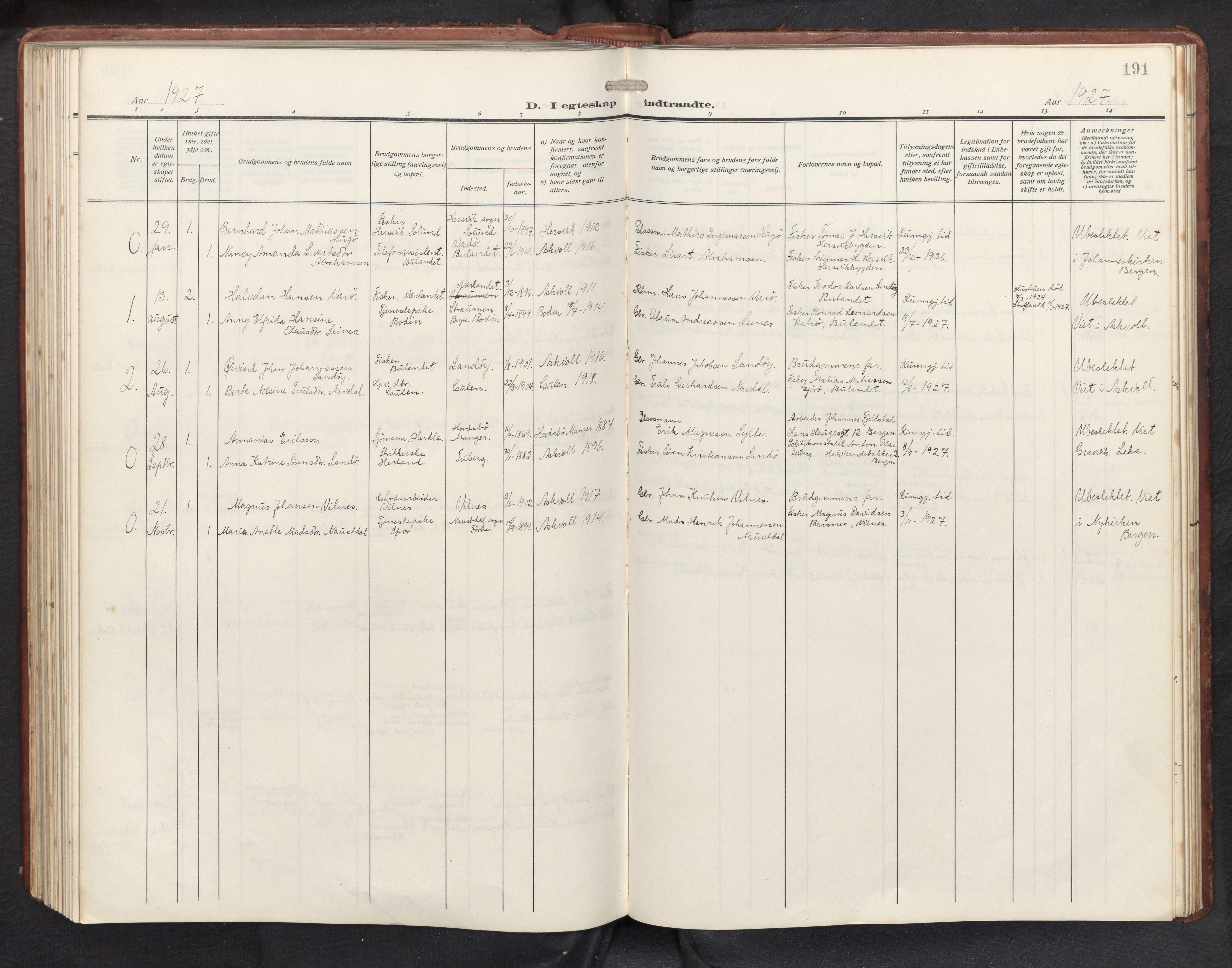 SAB, Askvoll sokneprestembete, H/Hab/Habb/L0002: Klokkerbok nr. B 2, 1910-1947, s. 190b-191a