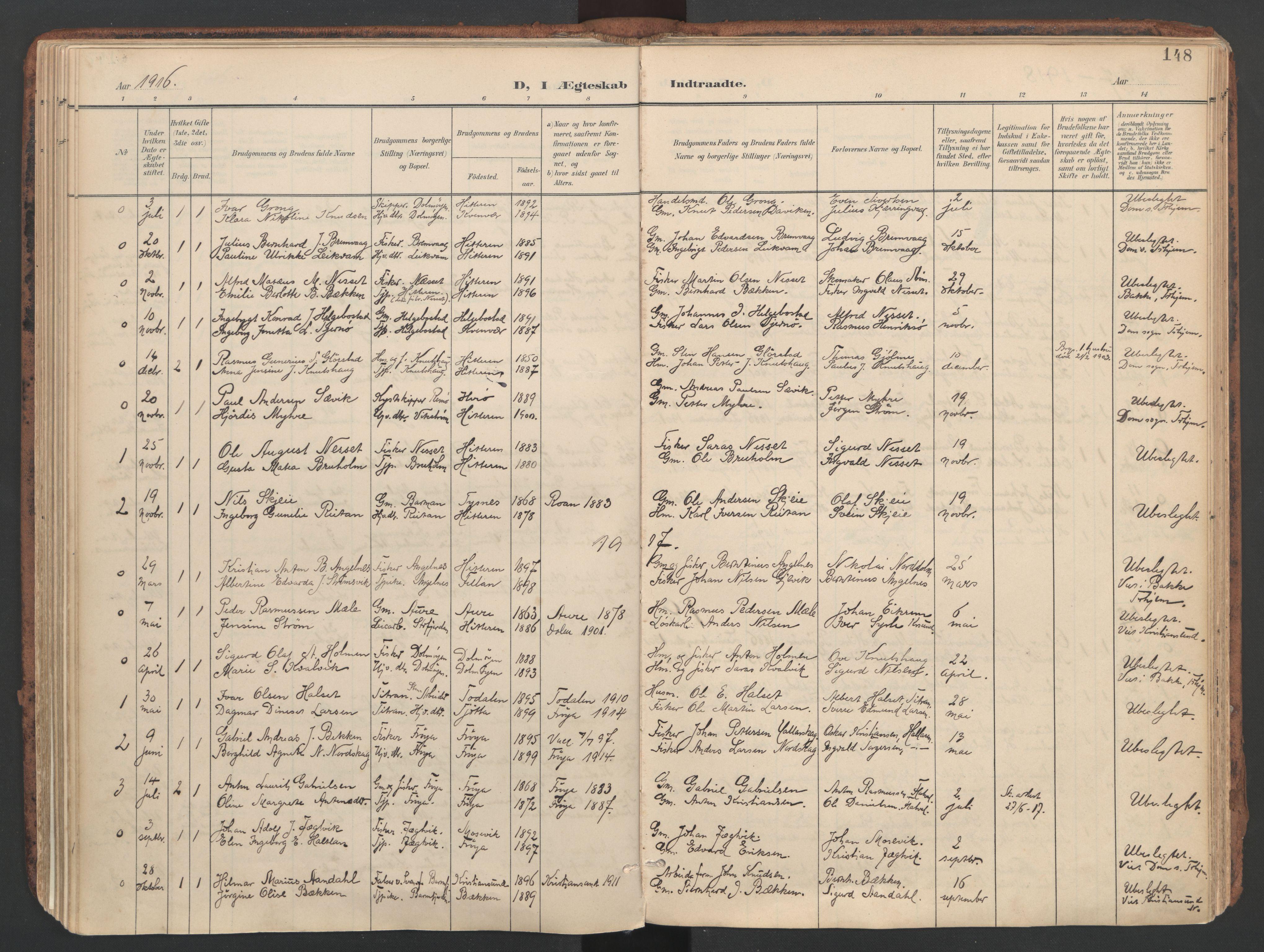 SAT, Ministerialprotokoller, klokkerbøker og fødselsregistre - Sør-Trøndelag, 634/L0537: Ministerialbok nr. 634A13, 1896-1922, s. 148