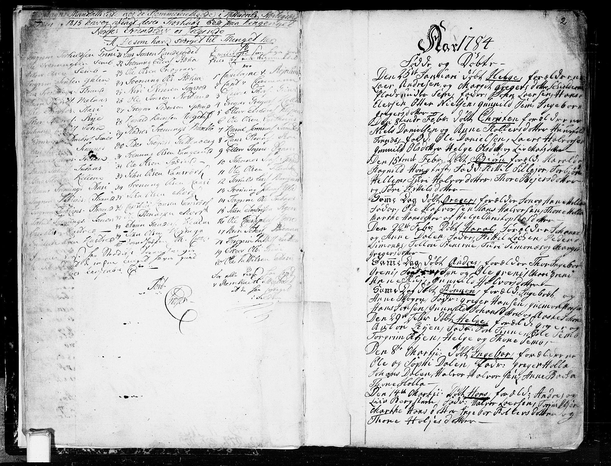 SAKO, Heddal kirkebøker, F/Fa/L0004: Ministerialbok nr. I 4, 1784-1814, s. 2