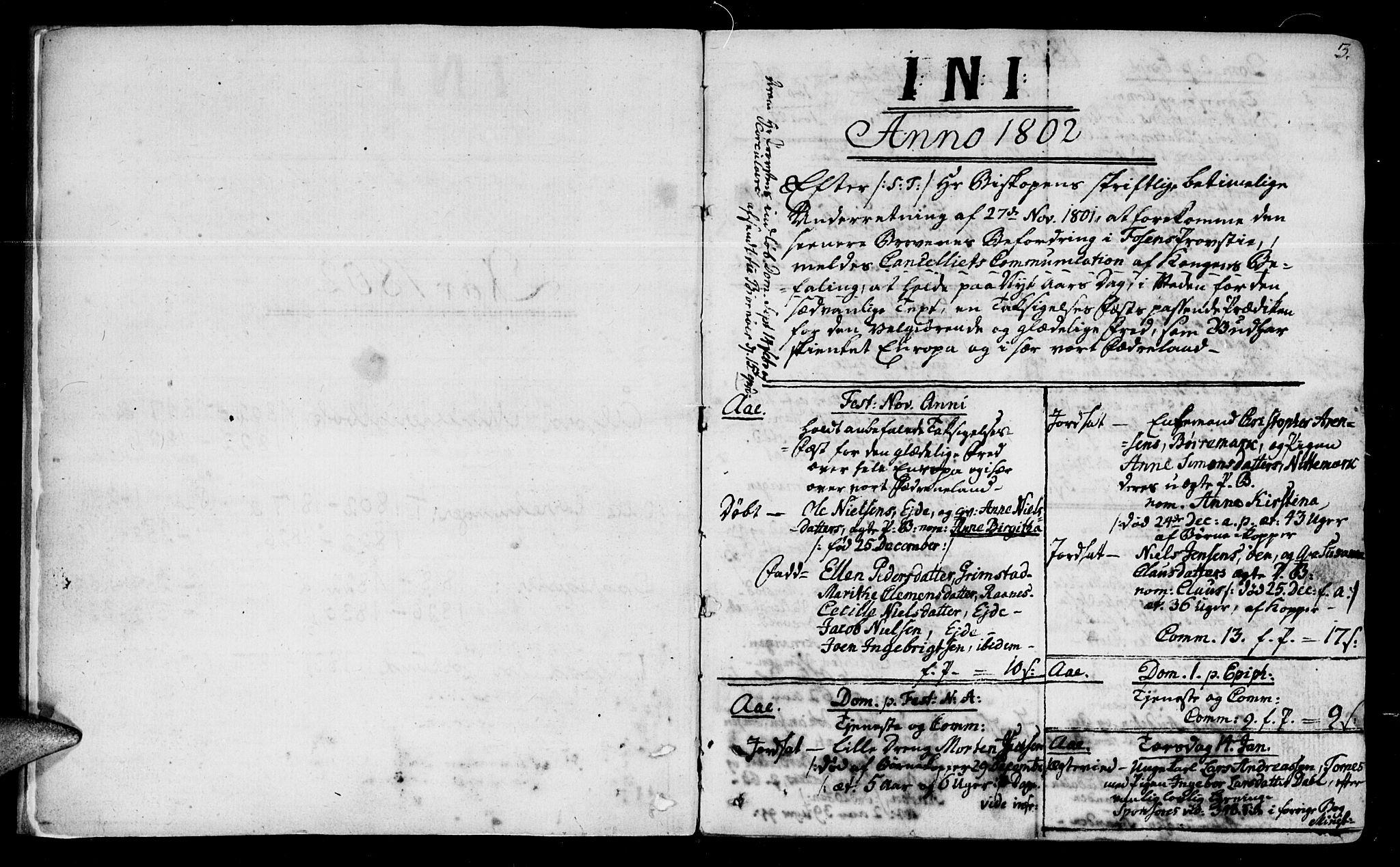 SAT, Ministerialprotokoller, klokkerbøker og fødselsregistre - Sør-Trøndelag, 655/L0674: Ministerialbok nr. 655A03, 1802-1826, s. 2-3