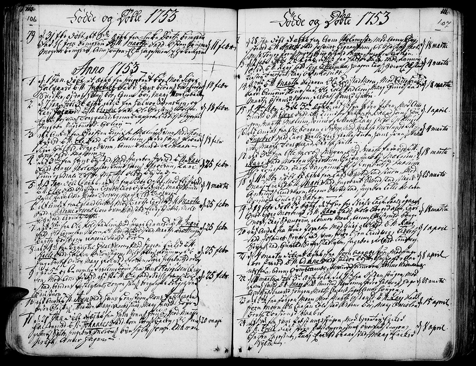 SAH, Ringebu prestekontor, Ministerialbok nr. 2, 1734-1780, s. 106-107