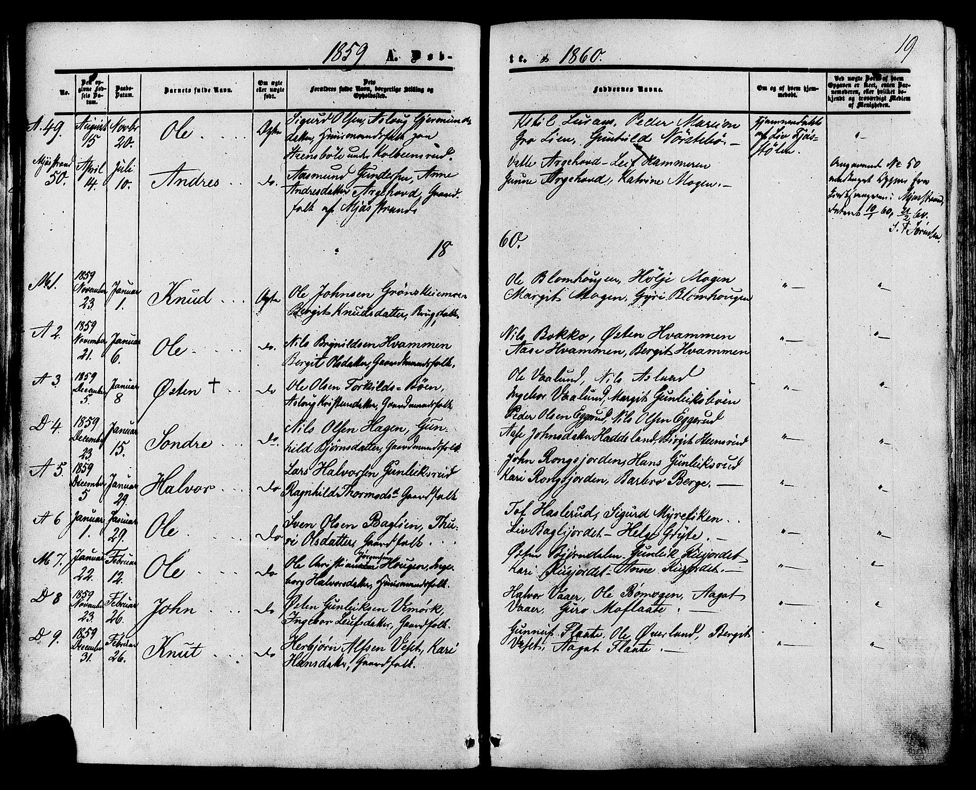 SAKO, Tinn kirkebøker, F/Fa/L0006: Ministerialbok nr. I 6, 1857-1878, s. 19