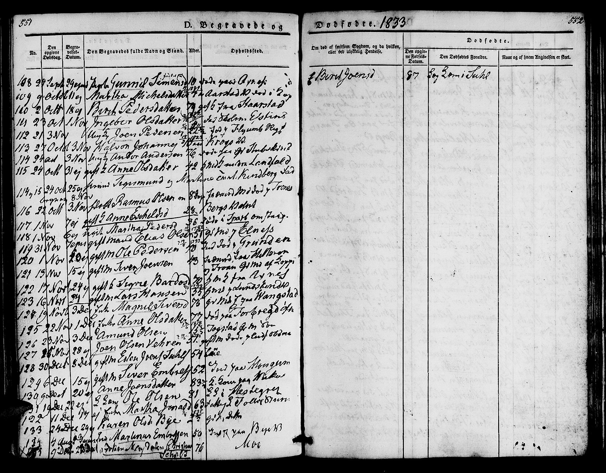 SAT, Ministerialprotokoller, klokkerbøker og fødselsregistre - Nord-Trøndelag, 723/L0238: Ministerialbok nr. 723A07, 1831-1840, s. 551-552