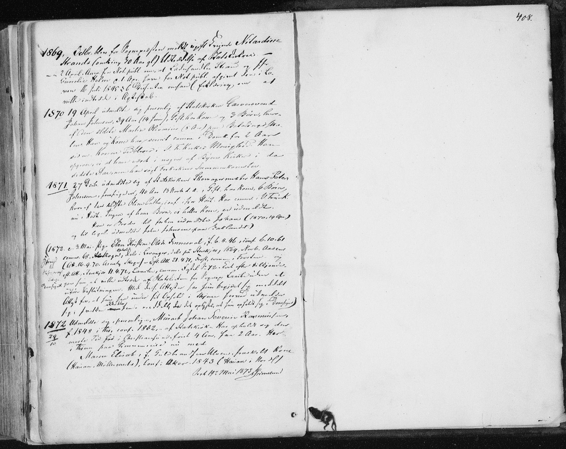 SAT, Ministerialprotokoller, klokkerbøker og fødselsregistre - Sør-Trøndelag, 602/L0115: Ministerialbok nr. 602A13, 1860-1872, s. 408