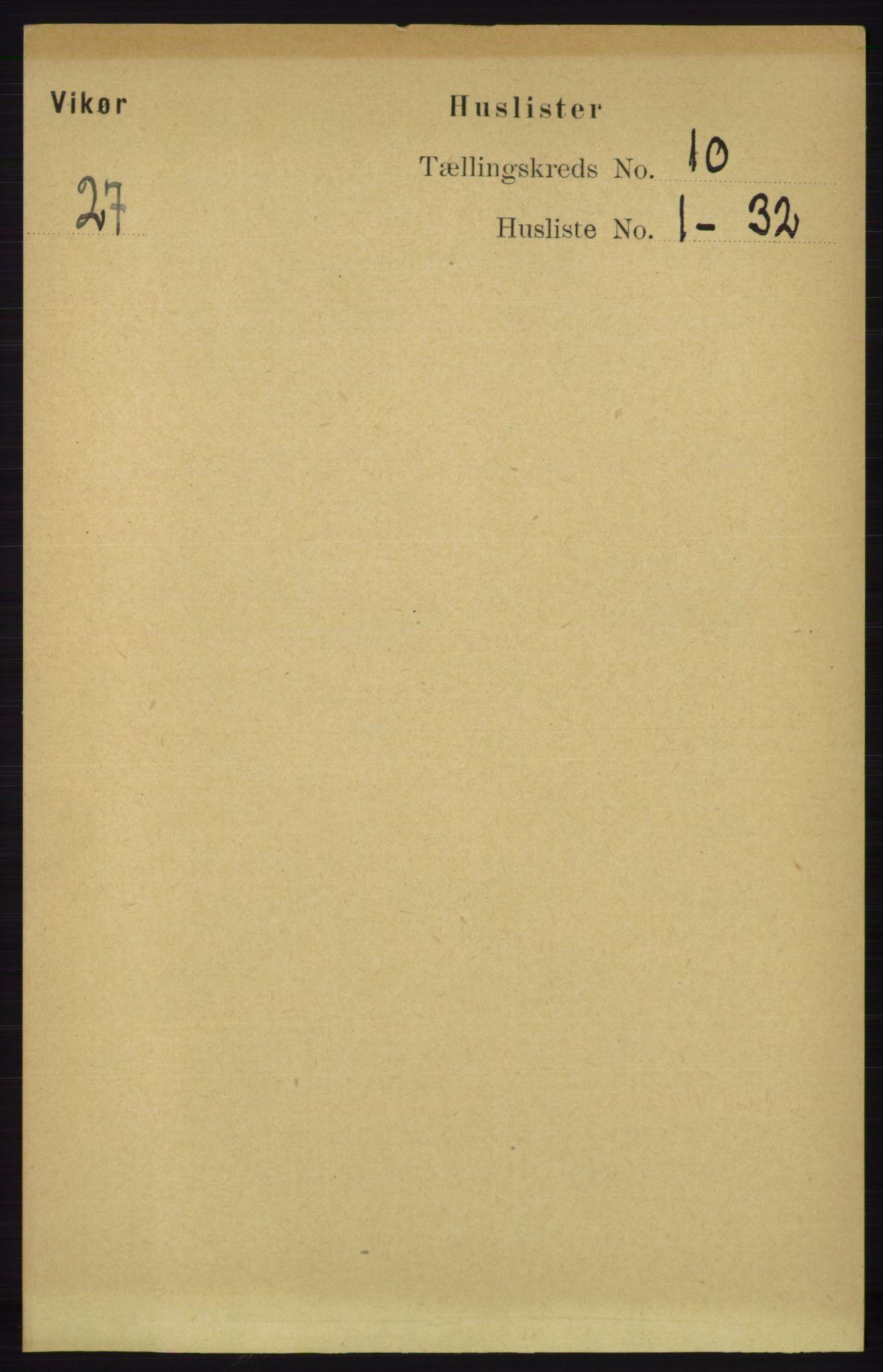 RA, Folketelling 1891 for 1238 Vikør herred, 1891, s. 2901