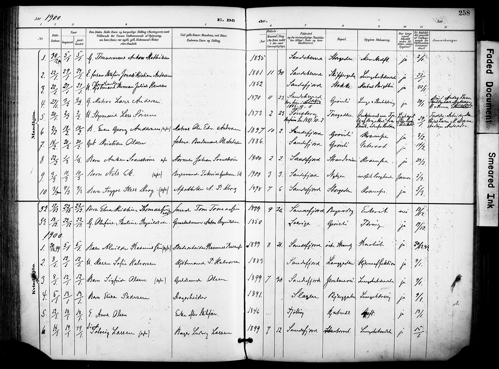 SAKO, Sandefjord kirkebøker, F/Fa/L0004: Ministerialbok nr. 4, 1894-1905, s. 258