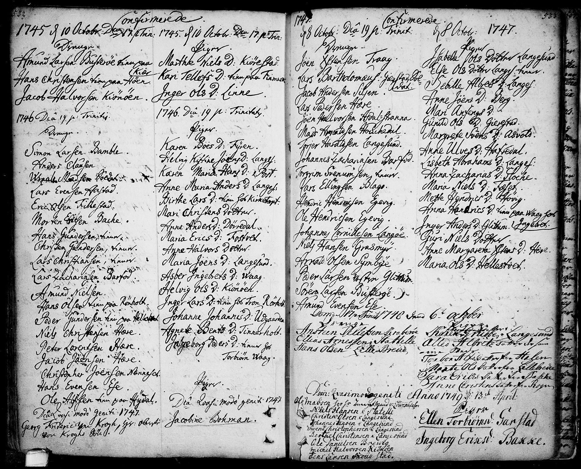 SAKO, Bamble kirkebøker, F/Fa/L0001: Ministerialbok nr. I 1, 1702-1774, s. 532-533