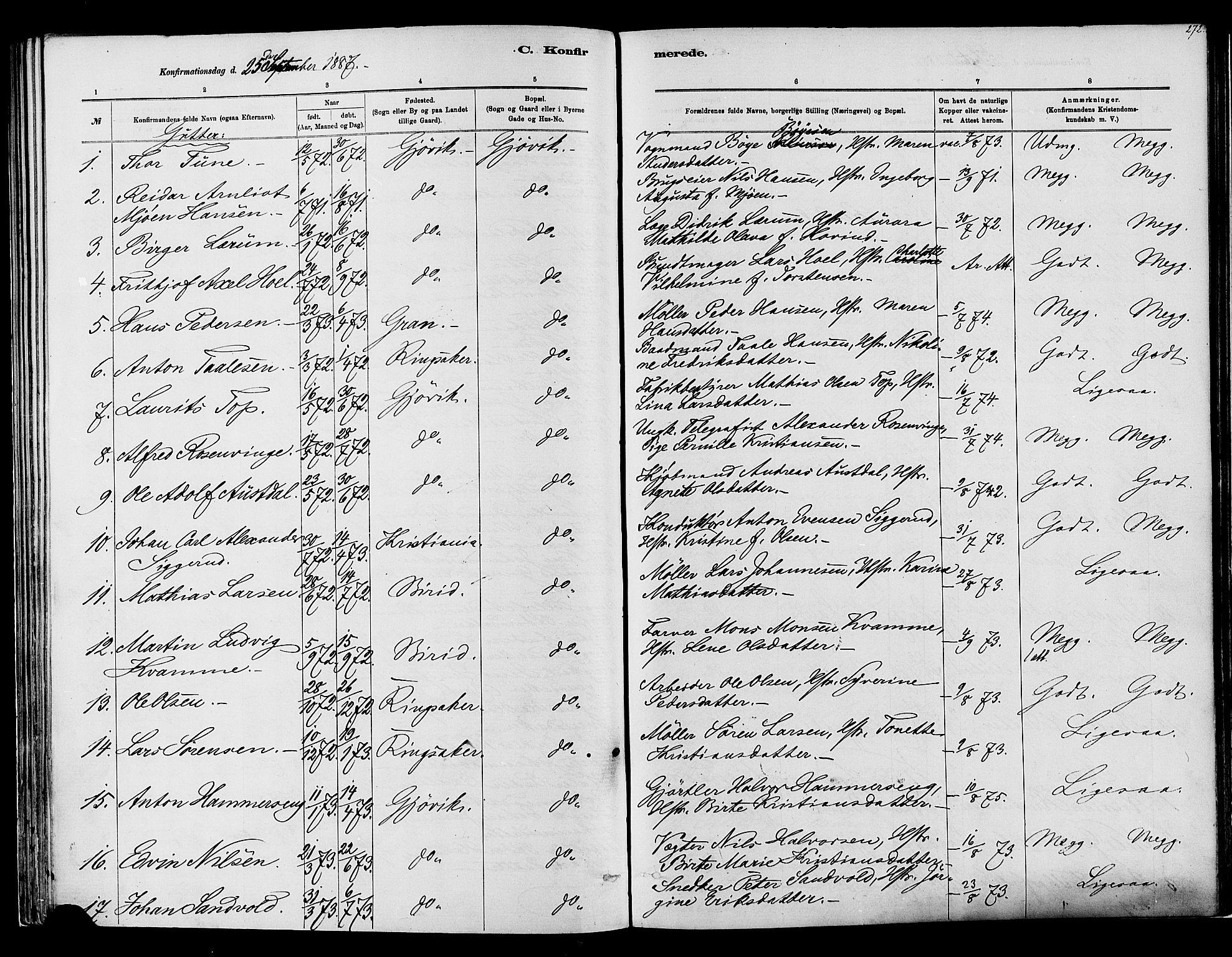 SAH, Vardal prestekontor, H/Ha/Haa/L0008: Ministerialbok nr. 8, 1878-1890, s. 272