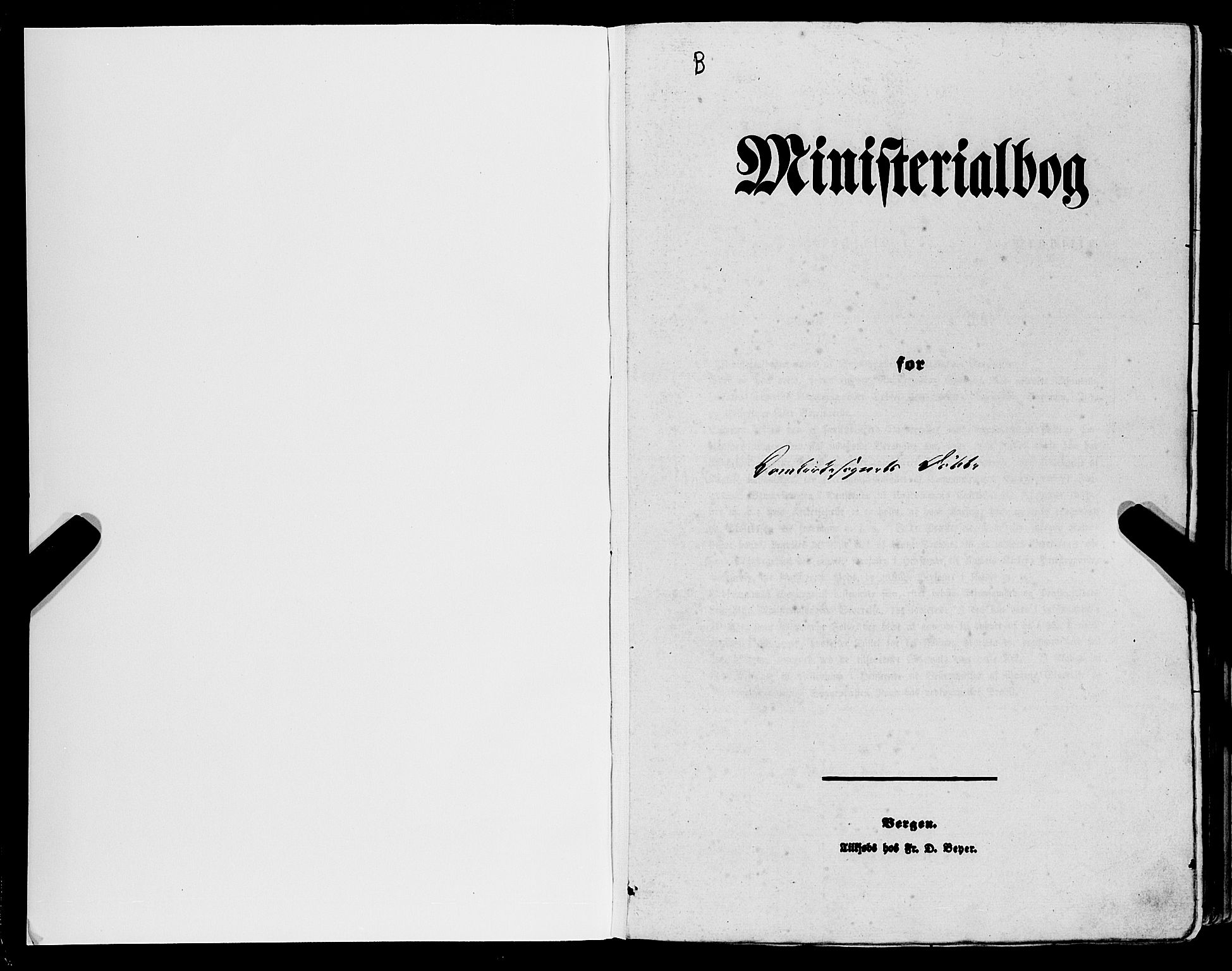 SAB, Domkirken Sokneprestembete, H/Haa/L0020: Ministerialbok nr. B 3, 1851-1859