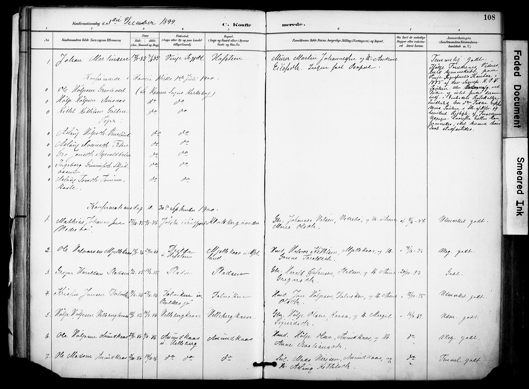 SAKO, Gransherad kirkebøker, F/Fa/L0005: Ministerialbok nr. I 5, 1887-1916, s. 108
