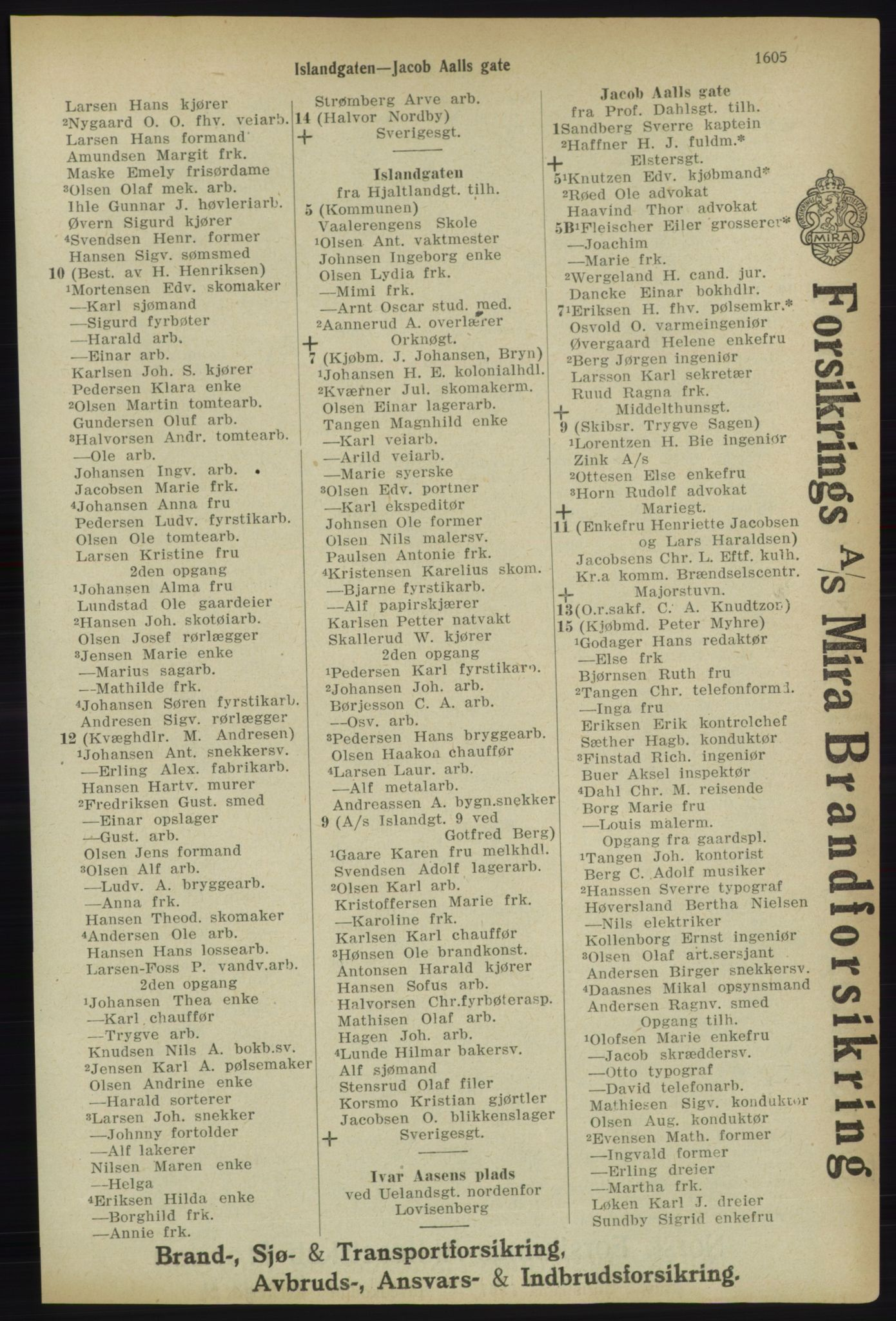 RA, Kristiania adressebok (publikasjon)*, 1918, s. 1605