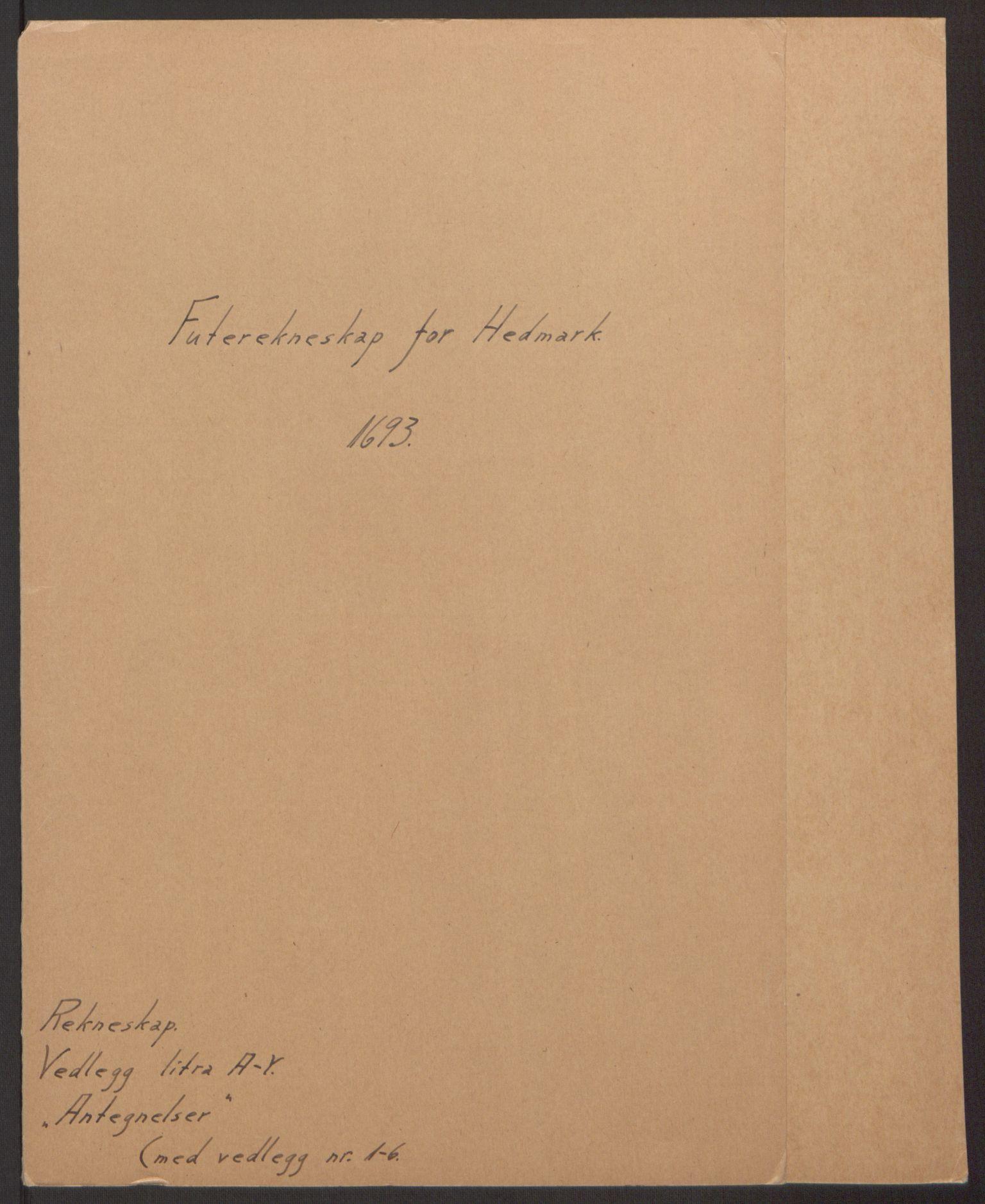 RA, Rentekammeret inntil 1814, Reviderte regnskaper, Fogderegnskap, R16/L1034: Fogderegnskap Hedmark, 1693, s. 2