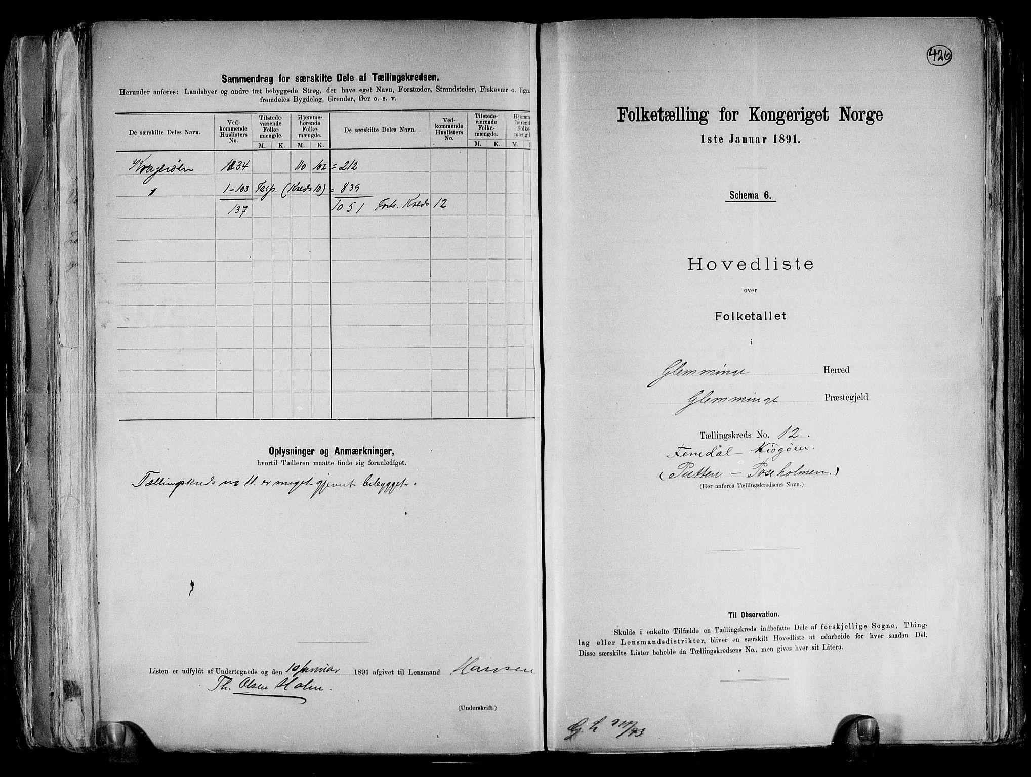 RA, Folketelling 1891 for 0132 Glemmen herred, 1891, s. 38