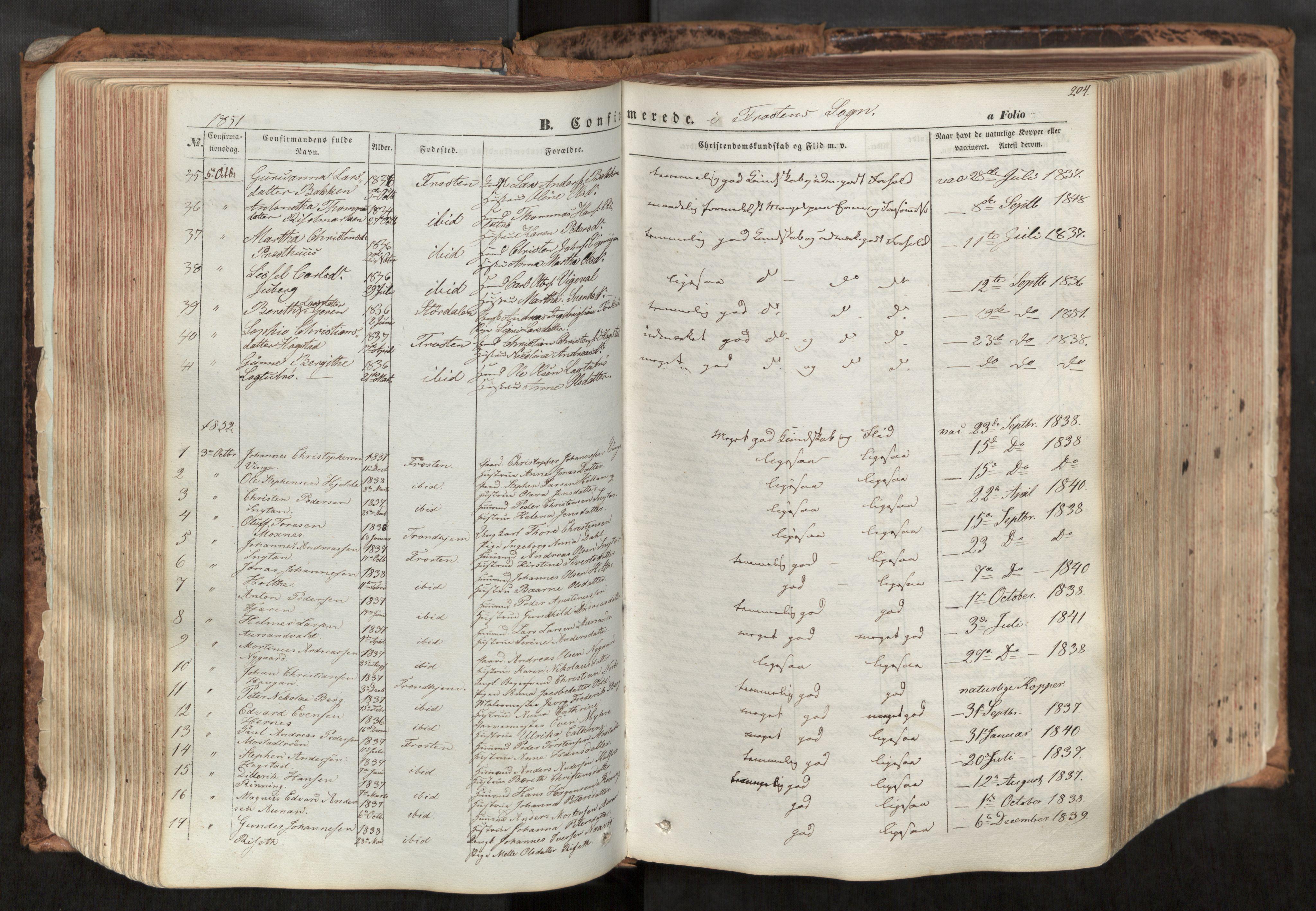 SAT, Ministerialprotokoller, klokkerbøker og fødselsregistre - Nord-Trøndelag, 713/L0116: Ministerialbok nr. 713A07, 1850-1877, s. 204