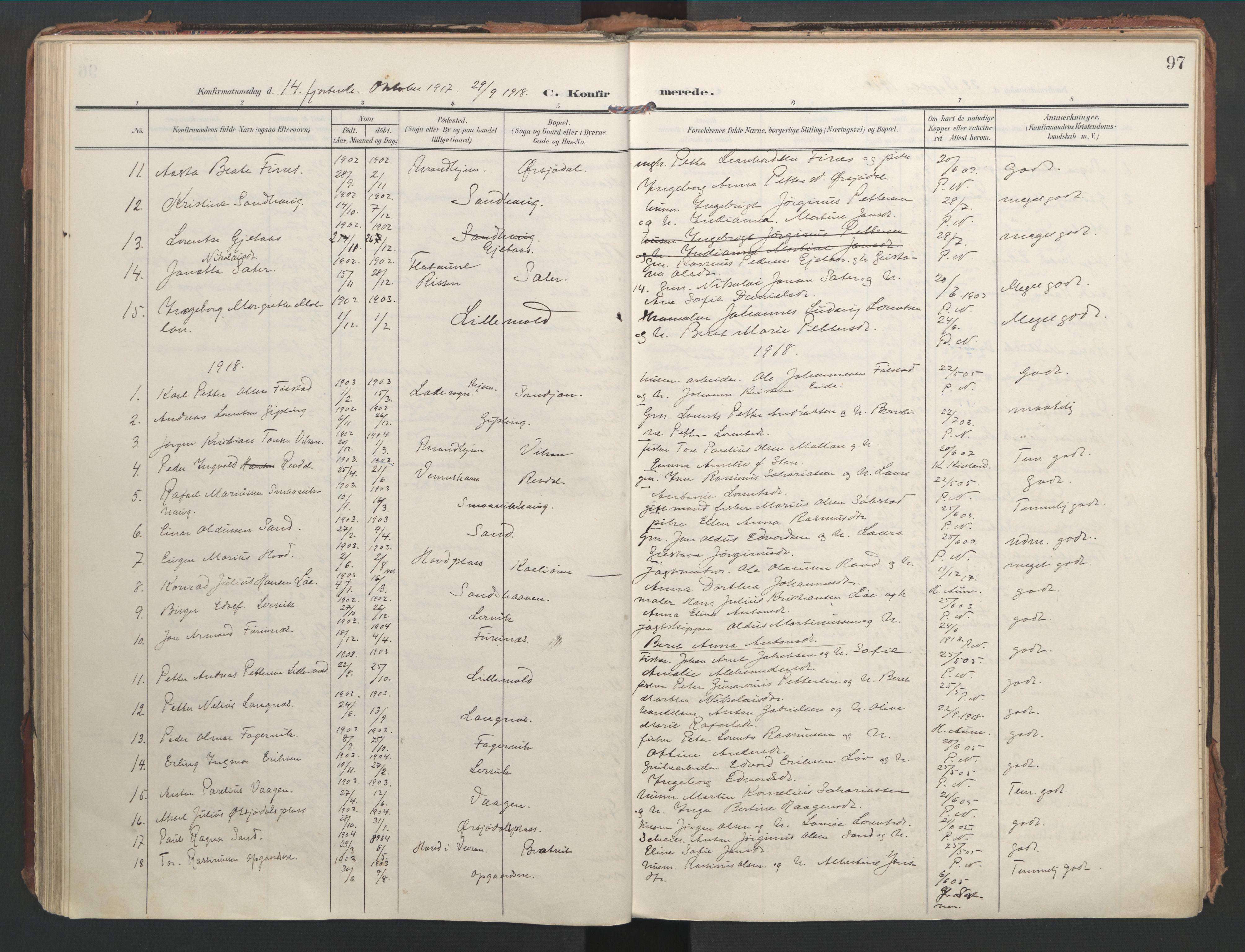 SAT, Ministerialprotokoller, klokkerbøker og fødselsregistre - Nord-Trøndelag, 744/L0421: Ministerialbok nr. 744A05, 1905-1930, s. 97