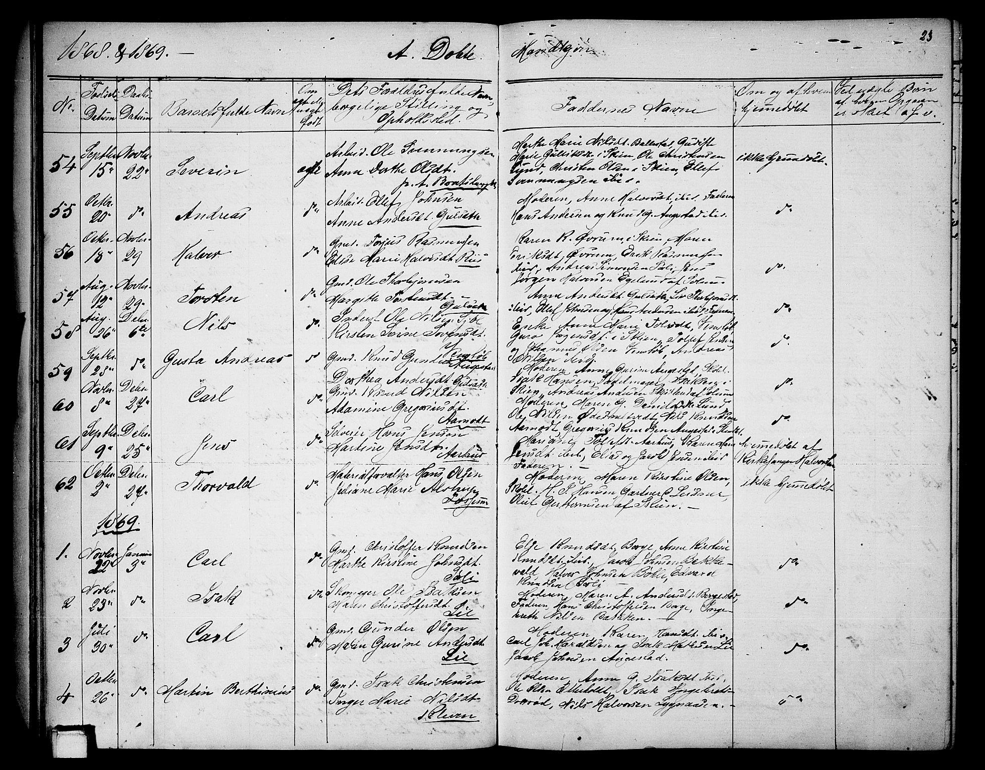 SAKO, Gjerpen kirkebøker, G/Ga/L0001: Klokkerbok nr. I 1, 1864-1882, s. 23
