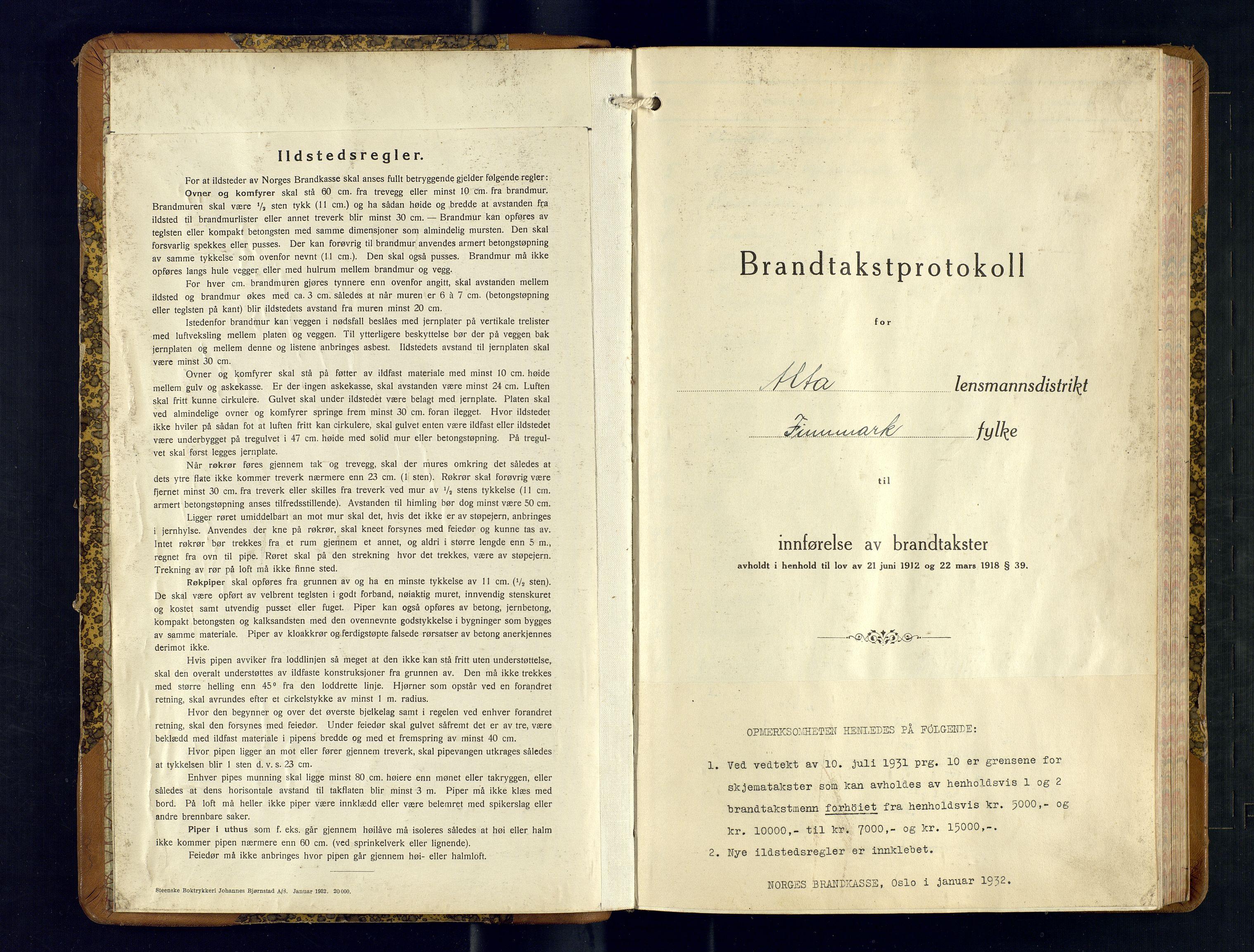 SATØ, Lensmannen i Alta, O/Ob/L0177: Branntakstprotokoll, 1932-1937