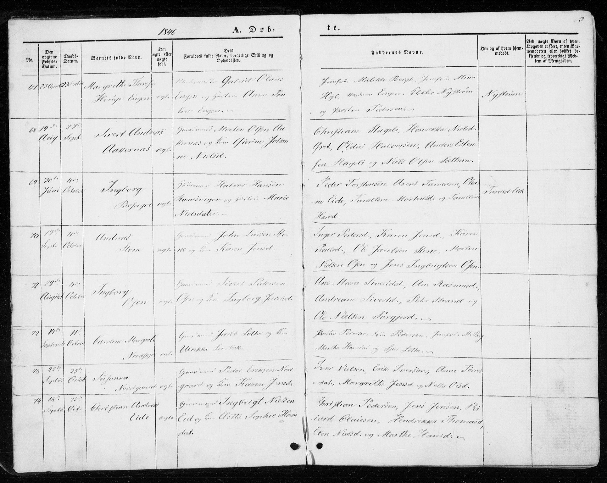 SAT, Ministerialprotokoller, klokkerbøker og fødselsregistre - Sør-Trøndelag, 657/L0704: Ministerialbok nr. 657A05, 1846-1857, s. 3